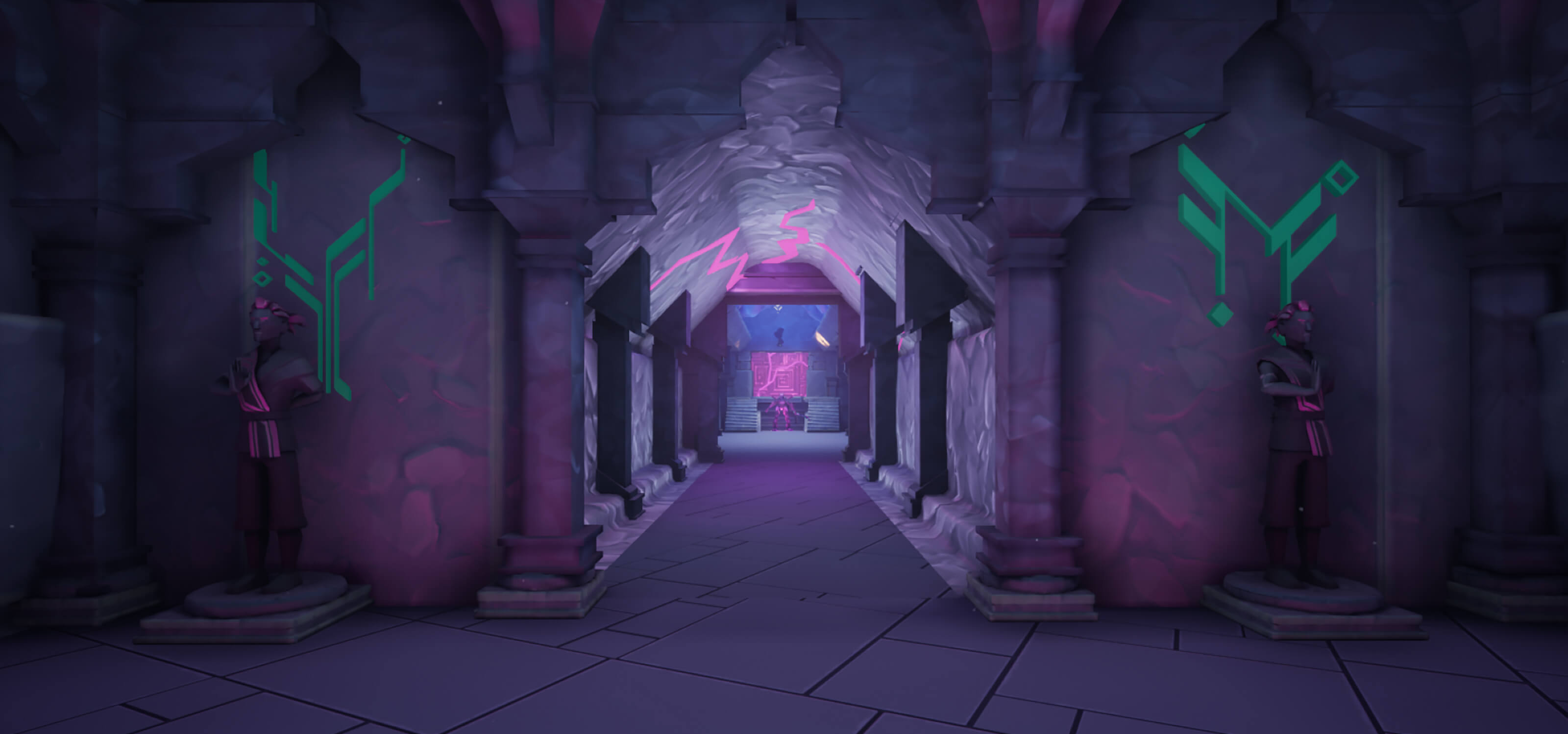 Game screenshot showing stone ruins and an empty hallway