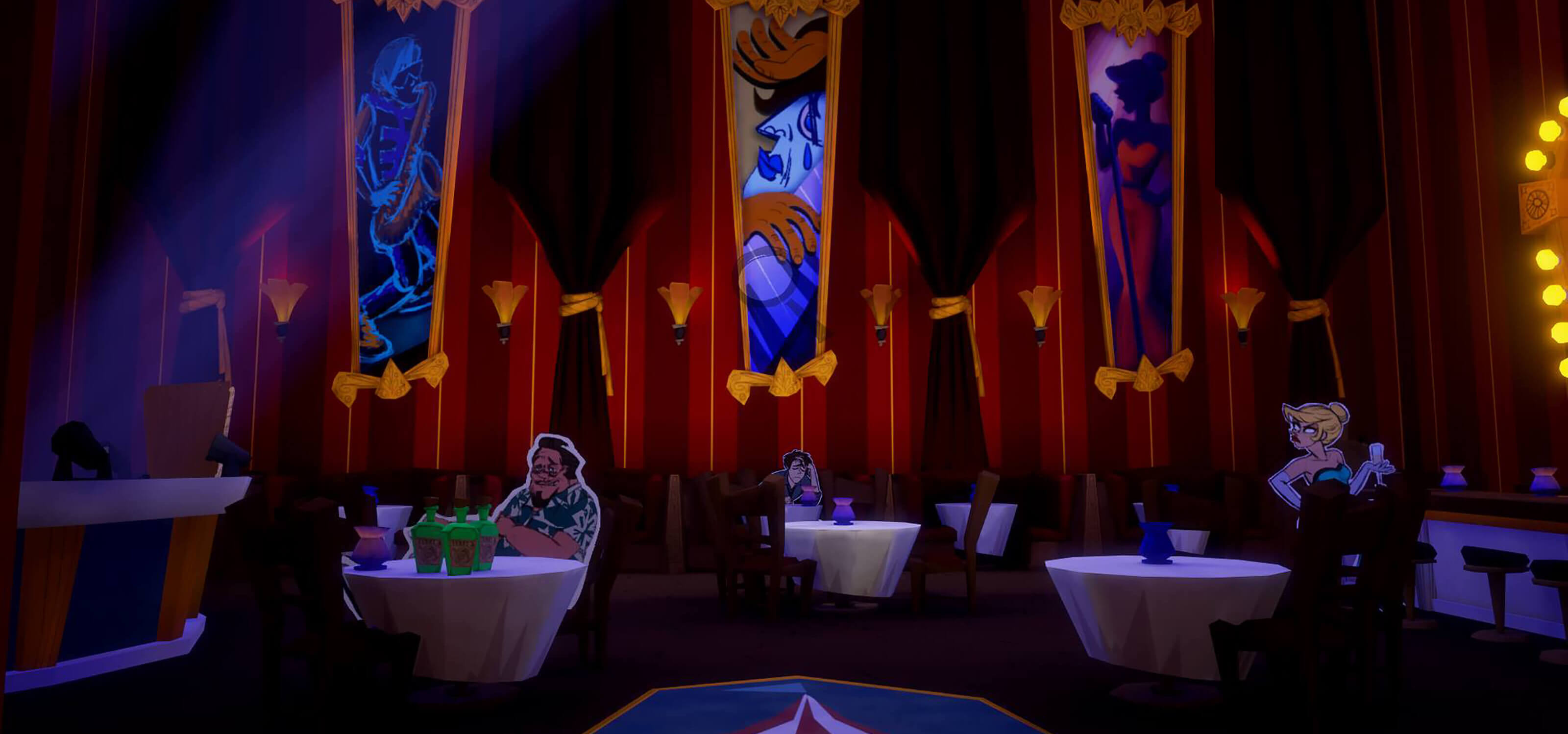 Screenshot from Penny Blue Finds a Clue featuring characters Terry Crisp, Zeke Spade, and Miss Betty in a large banquet hall