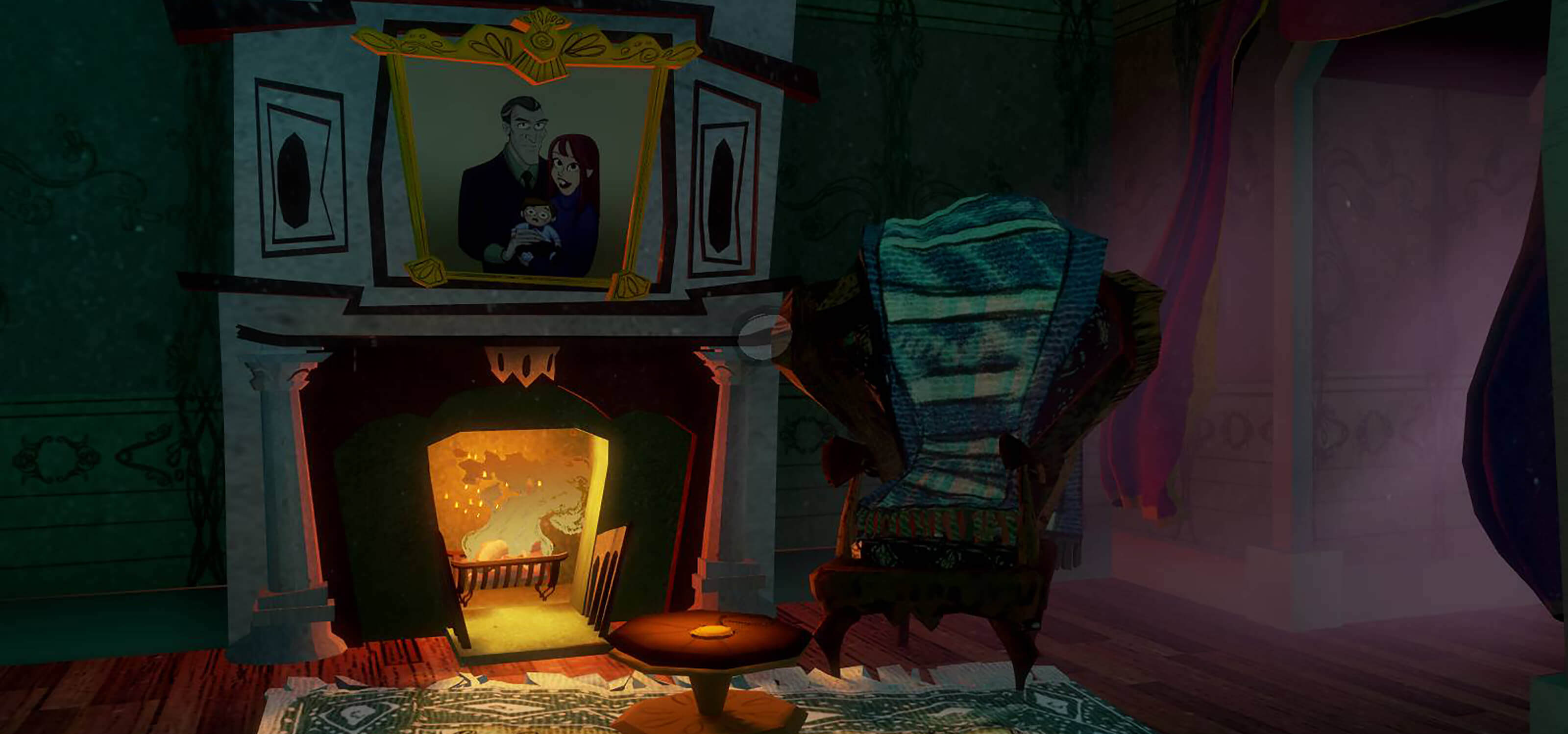 Screenshot from Penny Blue Finds a Clue featuring a darkened room with a family portrait above a fireplace and a wing chair beside it