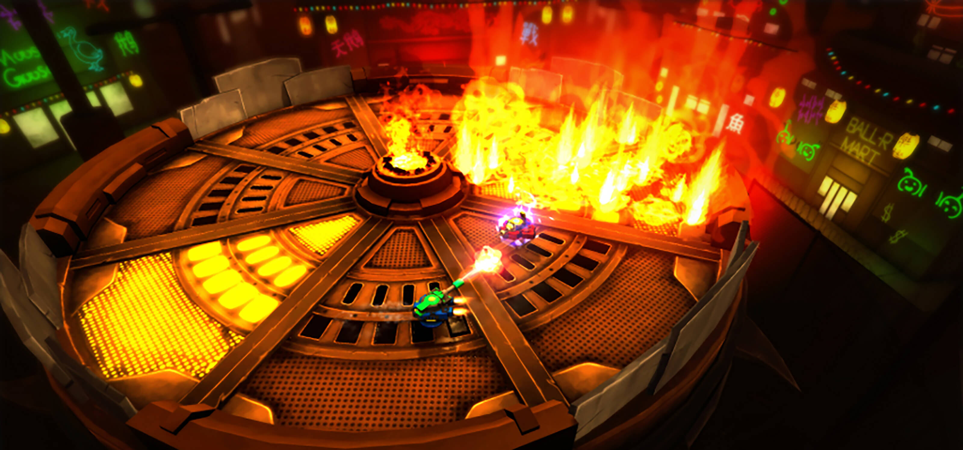 Screenshot of student game Wingman in which two hoverships battle in a circular arena where the floor is bursting in flames.
