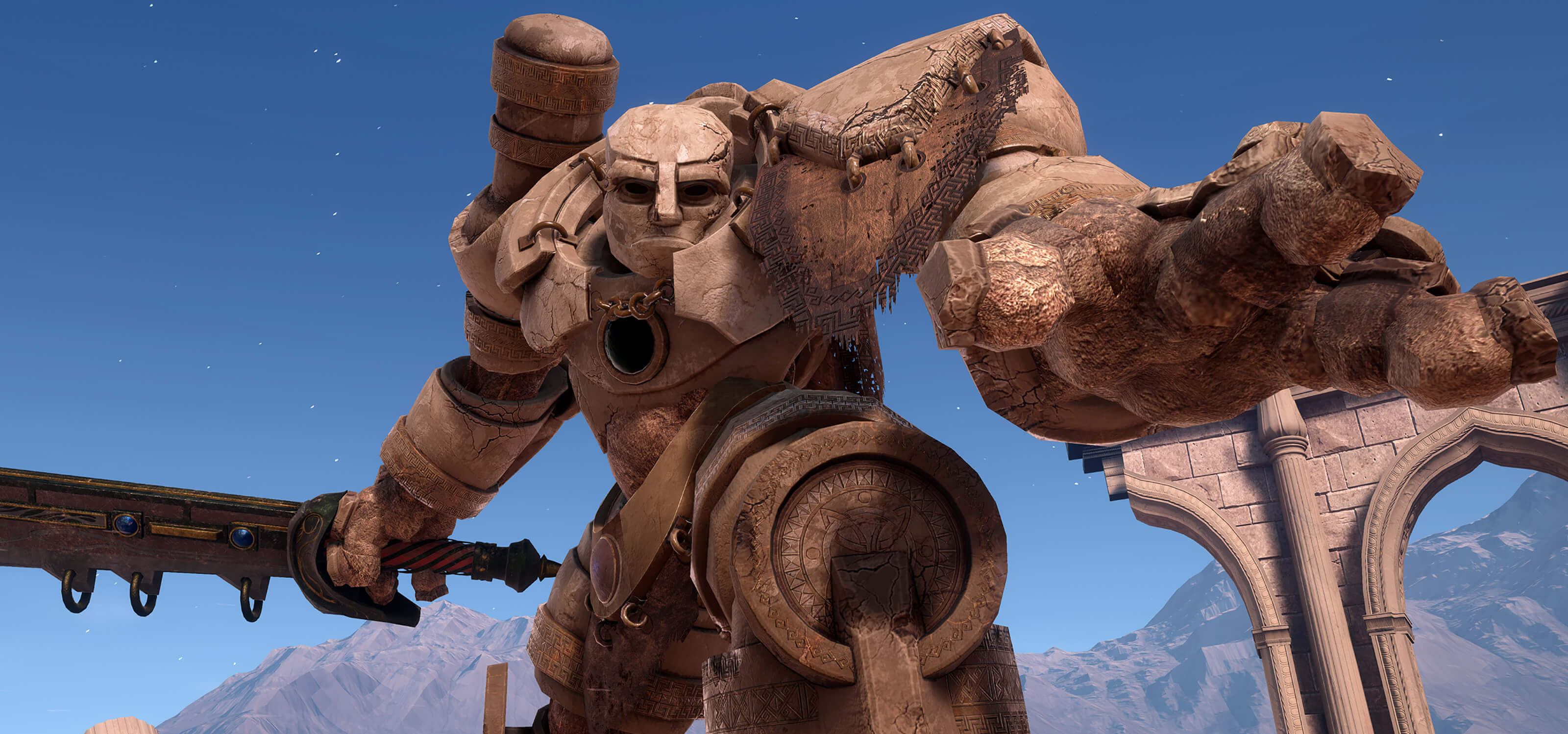 Screenshot of a huge stone creature called a golem wielding a sword