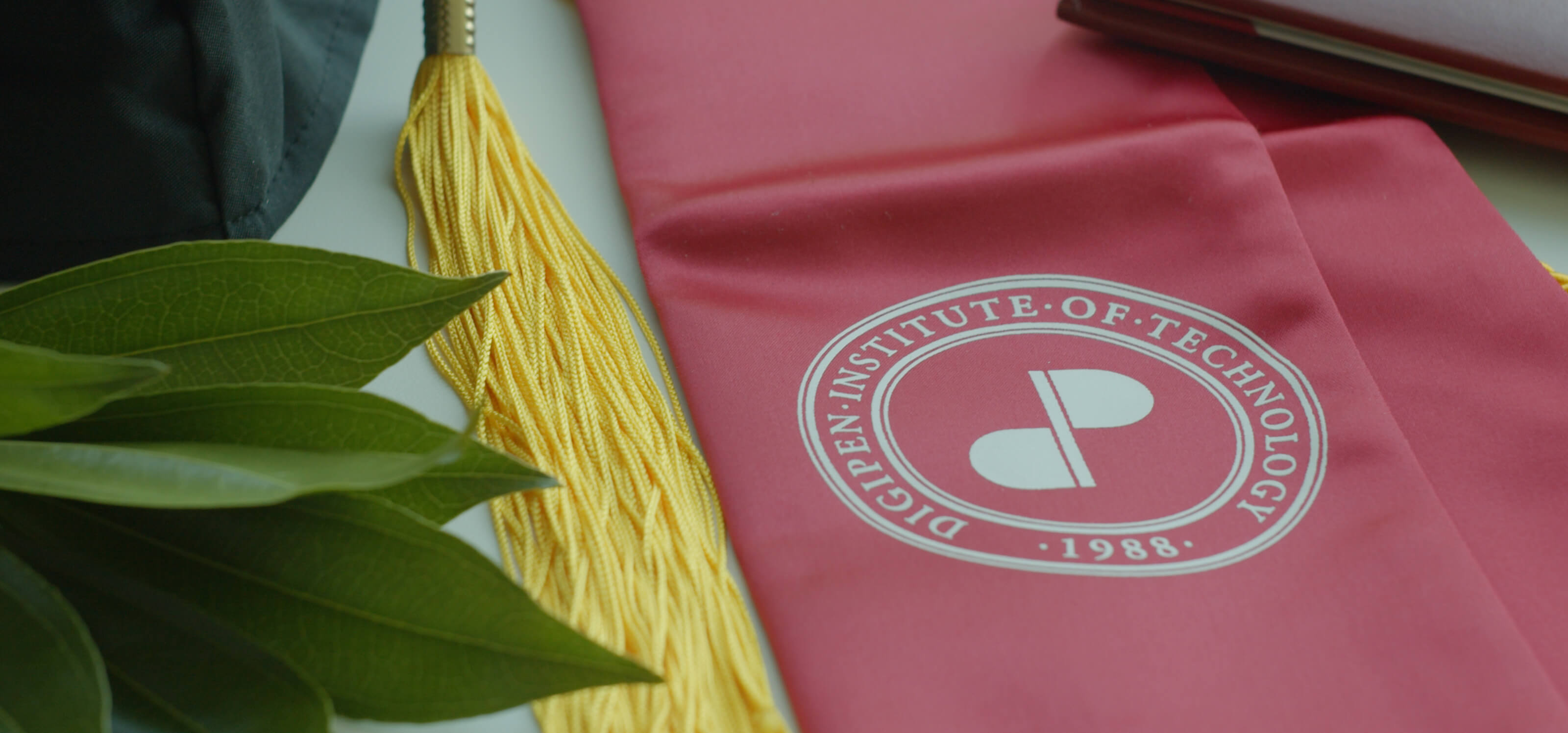 Red DigiPen graduation sash with a yellow tassel next to it