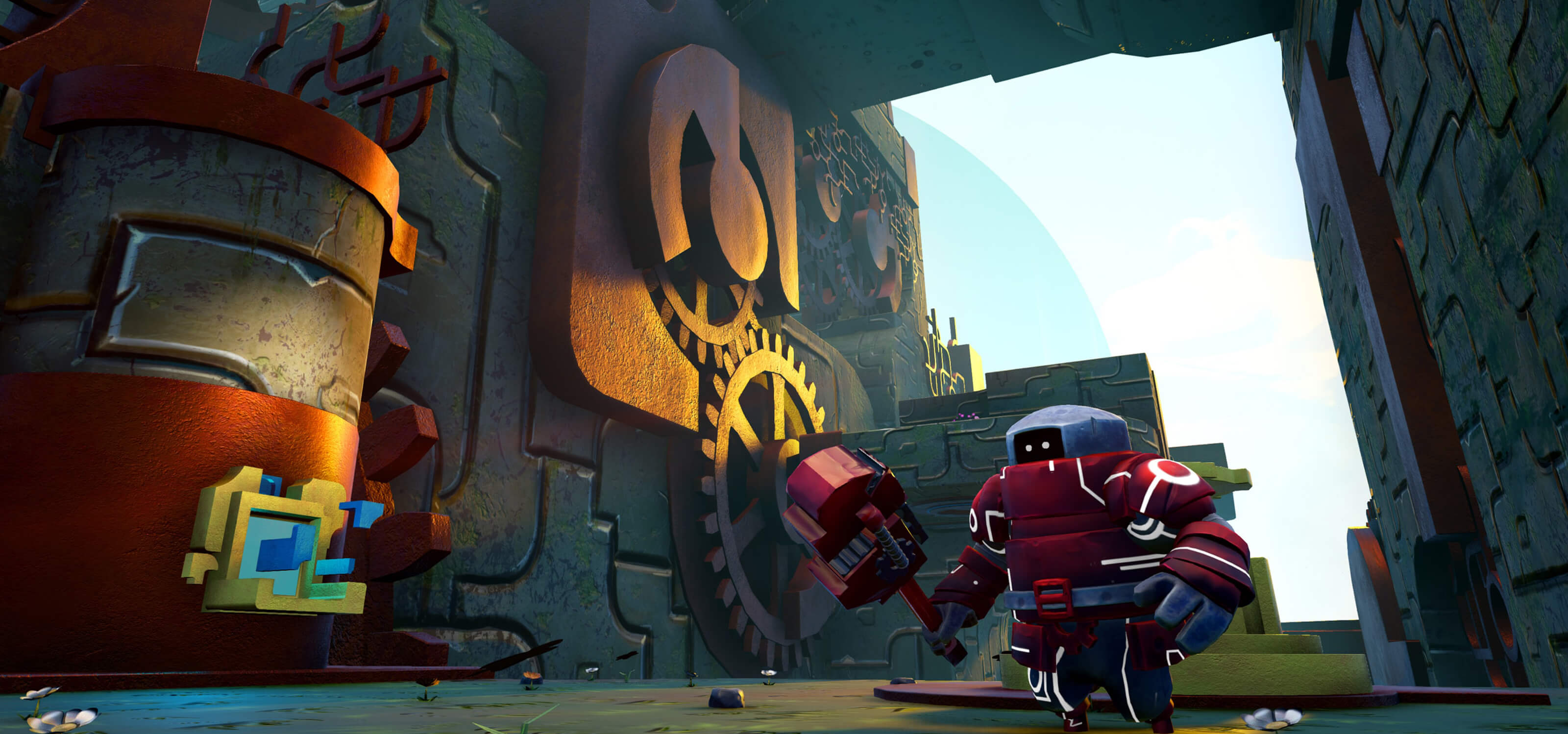 A red robot wielding a wrench in a clockwork machine