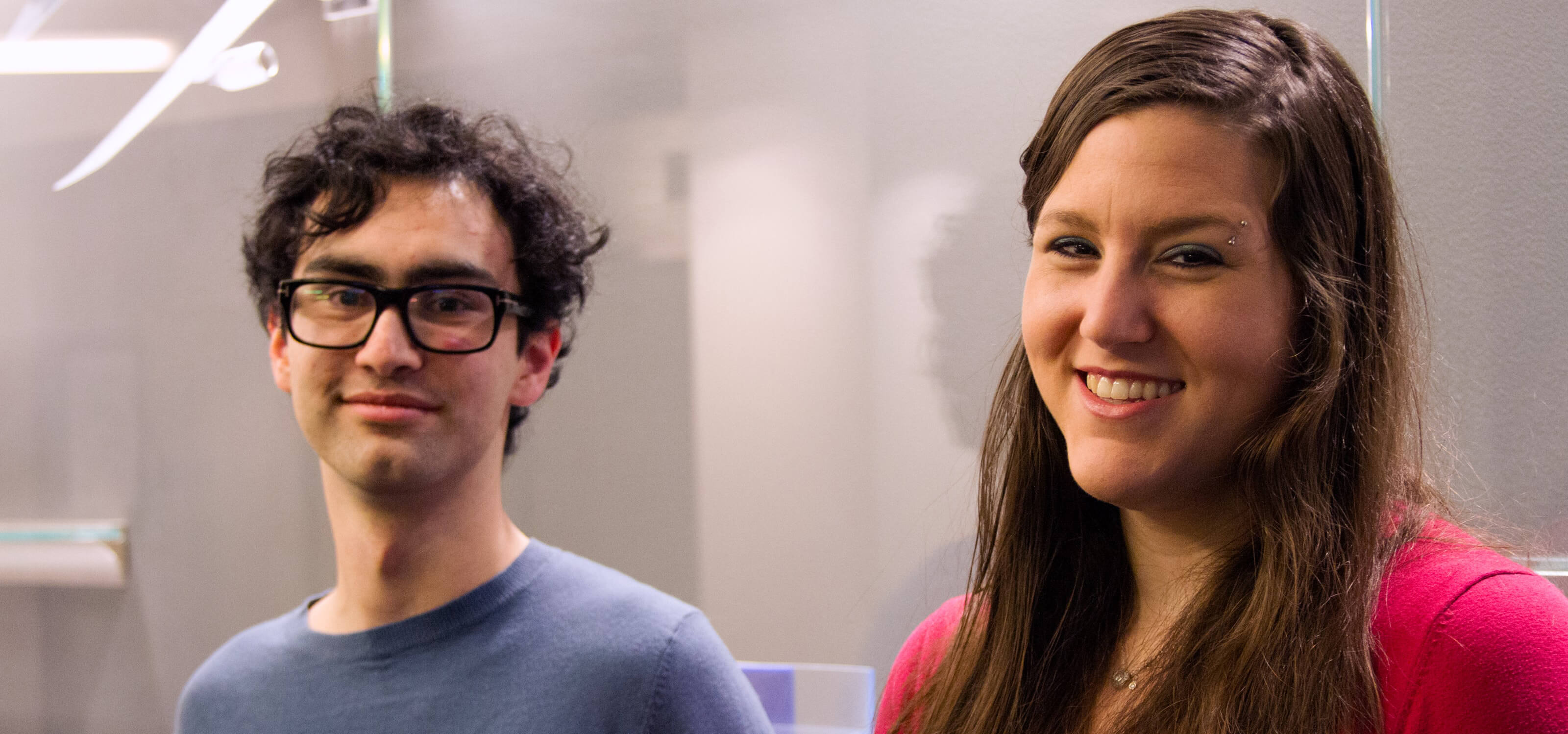 DigiPen students Harrison Barton and Alexandra Lucas smiling