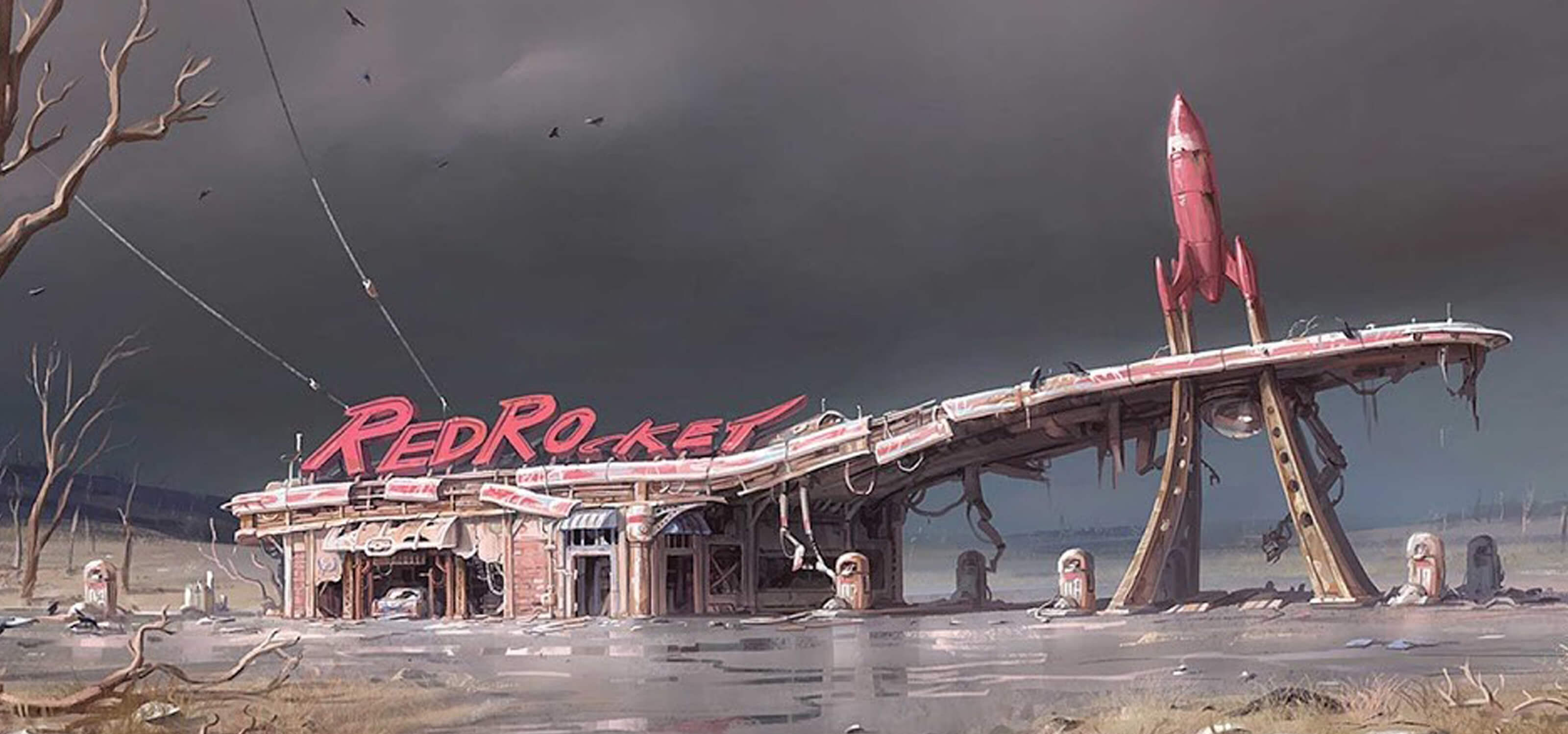Illustration of the Red Rocket gas station in the post-apocalyptic wasteland of Fallout 4 by DigiPen grad Ilya Nazarov