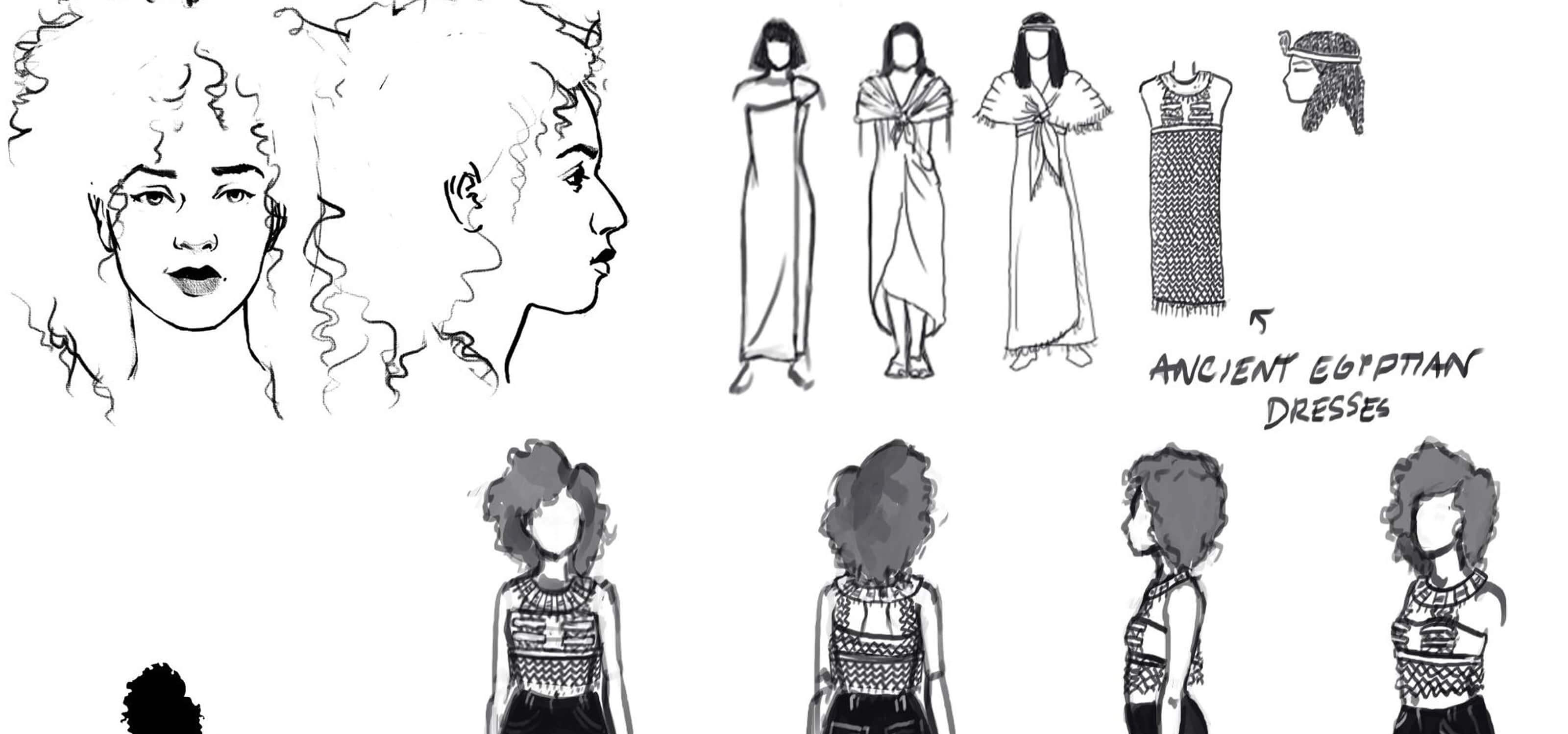 Concept sketches of Isabel Anderson's female action figures