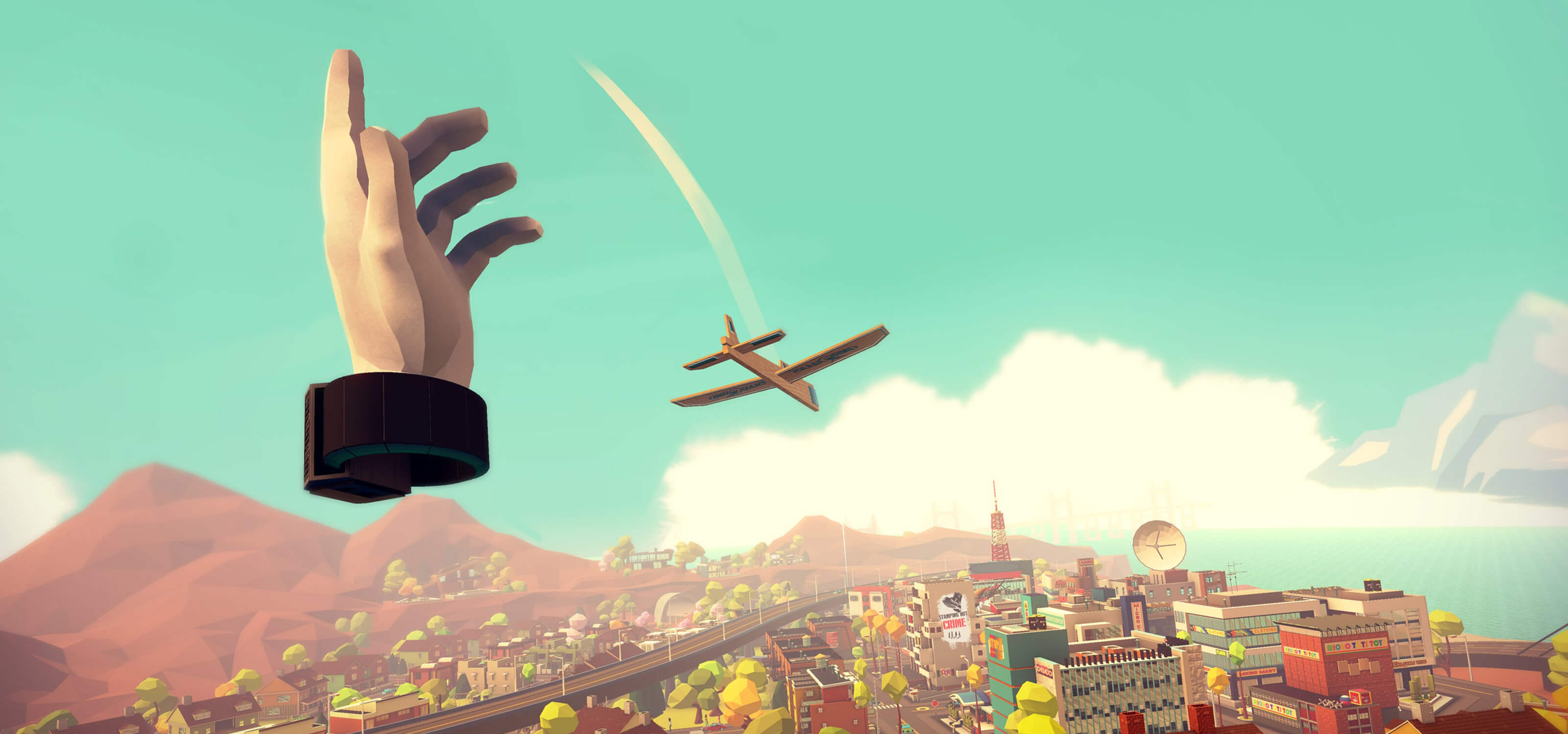 Screenshot from Giant Cop of a huge detached hand flinging a wooden airplane through the air