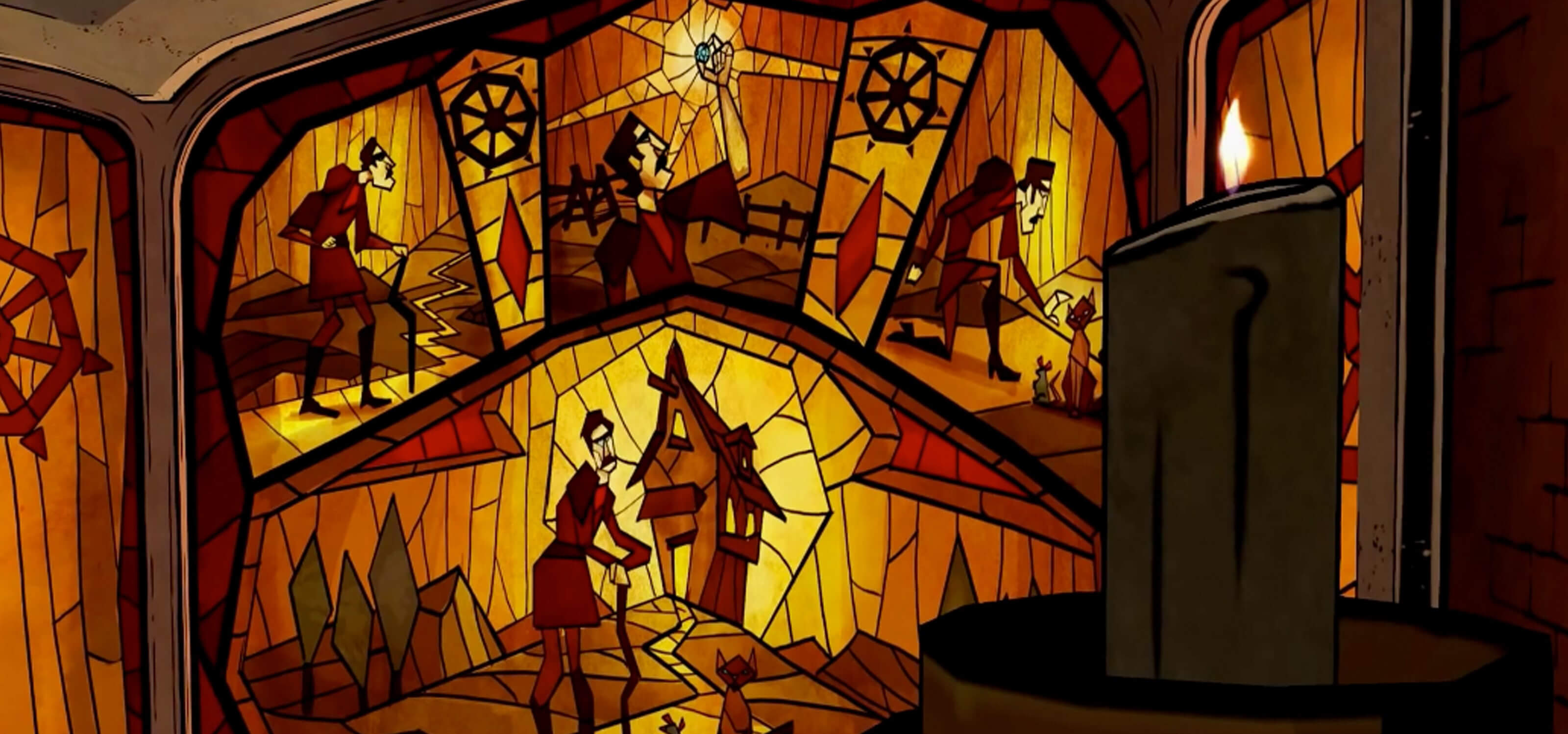 Screenshot of a stained glass window telling the backstory of villain The Crooked Man from The Wolf Among Us