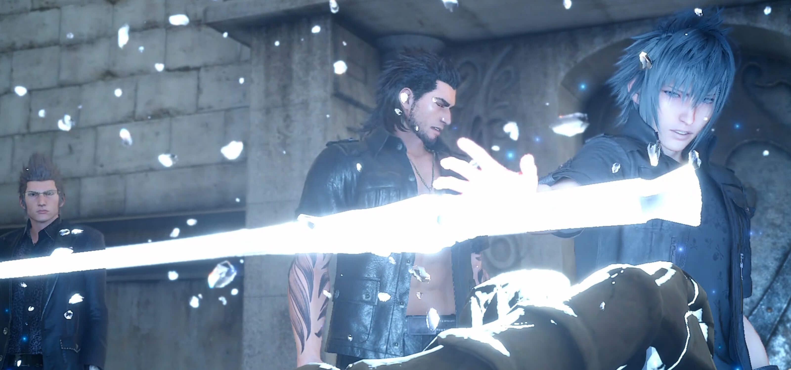 Screenshot from Final Fantasy 15, featuring main character Noctis Lucis Caelum and his friends