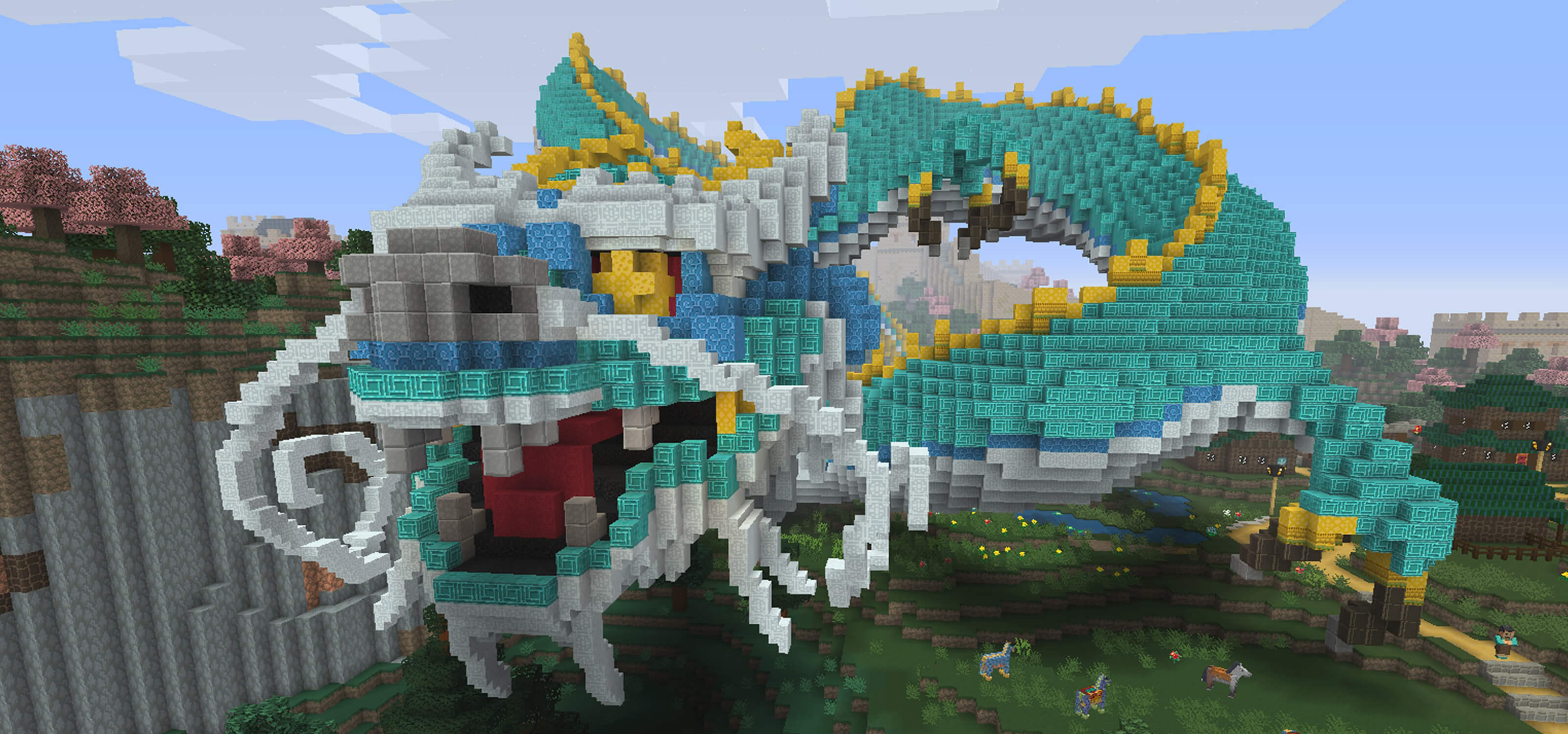 Screenshot of a huge Chinese-style dragon made out of blocks from Minecraft