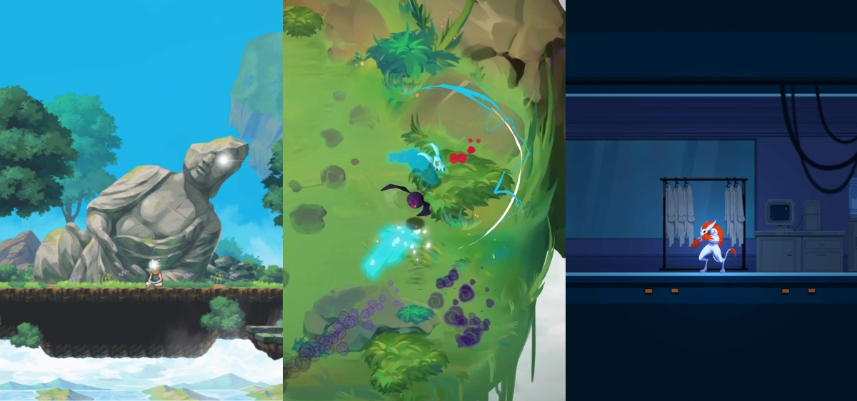 Three side-by-side screenshots taken from DigiPen student games Arc Apellago, Isles of Limbo, and Nohra.
