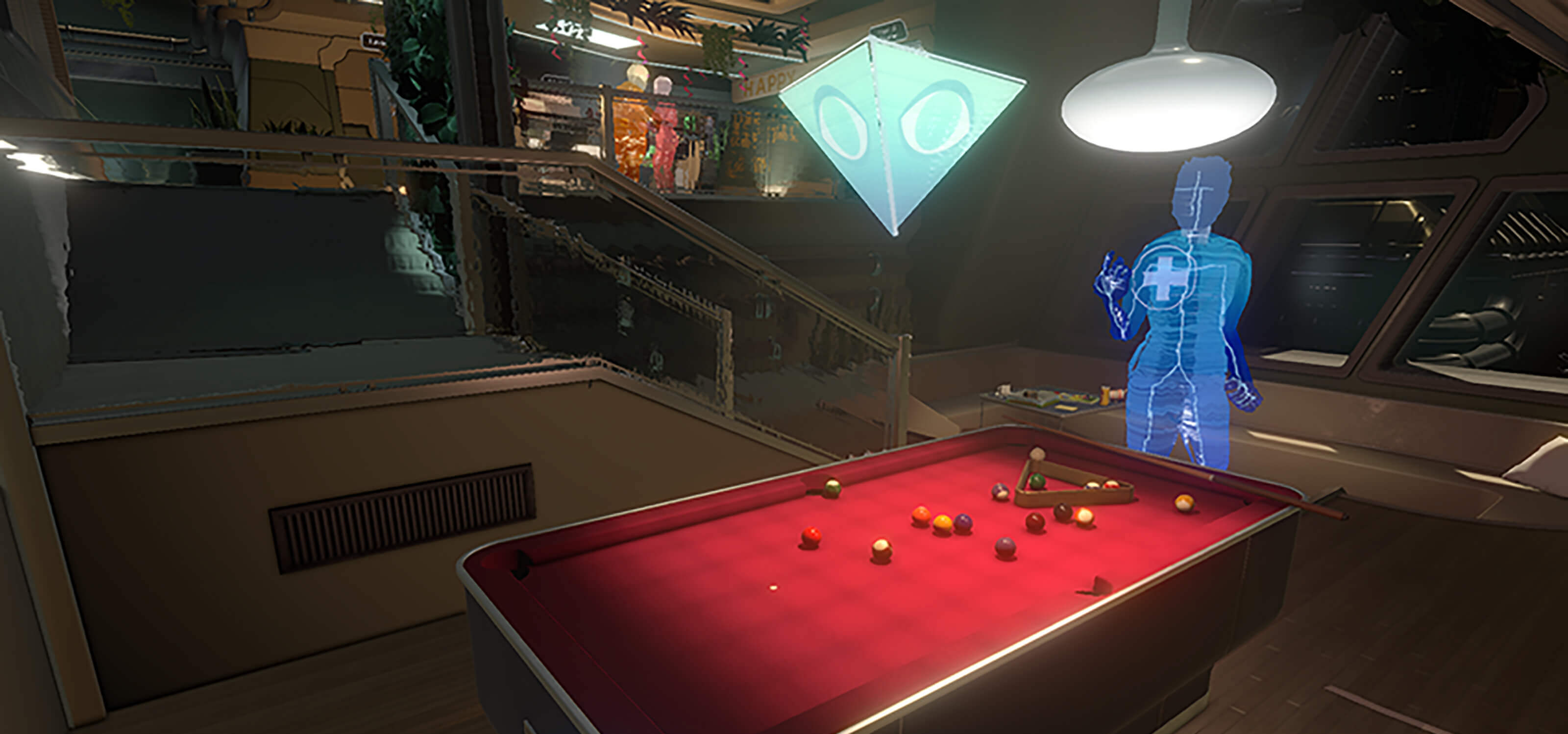 A faceless character plays pool in this screenshot from the Fullbright Company's game Tacoma