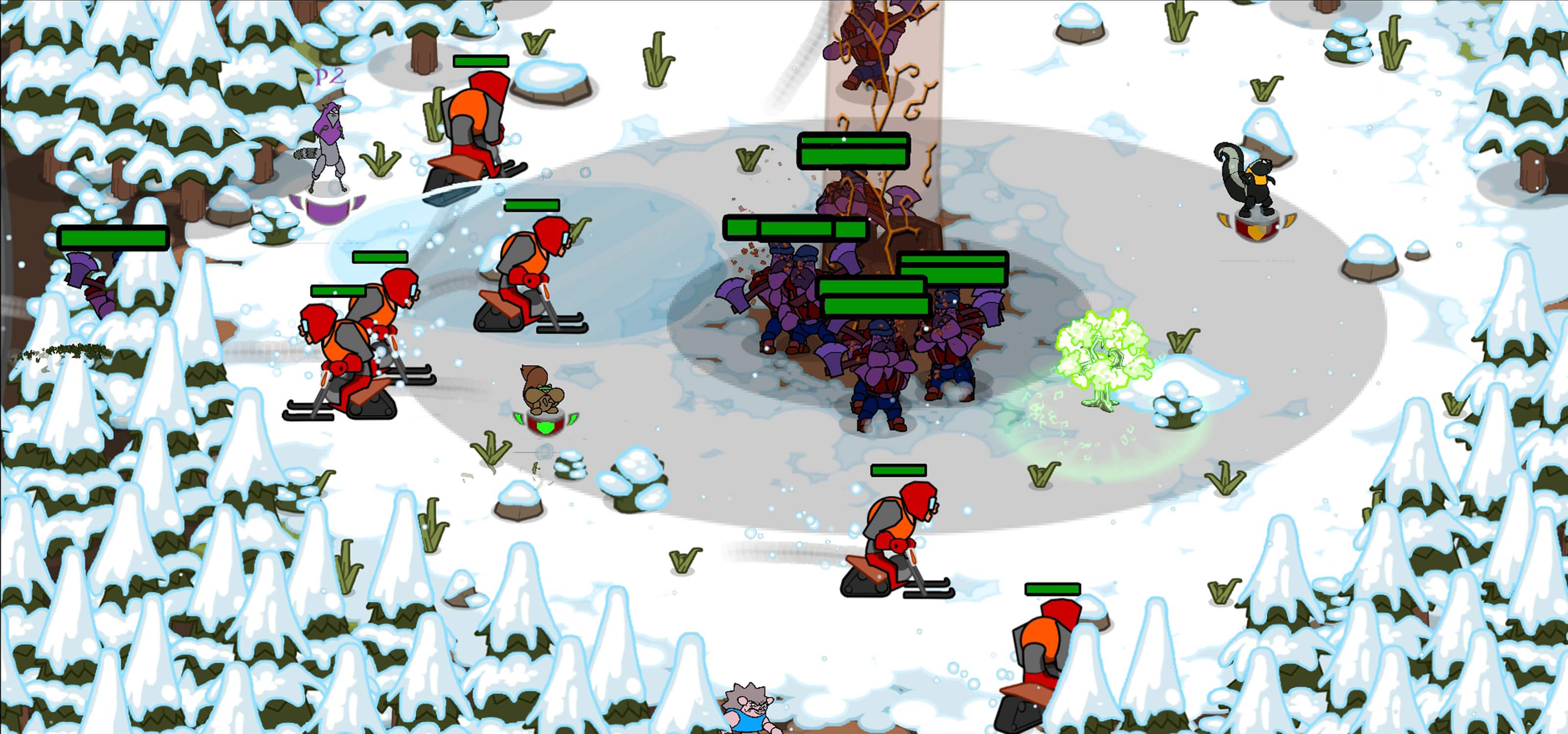 Screenshot featuring gameplay in a snowy forest from DigiPen student game N.U.T.S.: Forest FriendZ