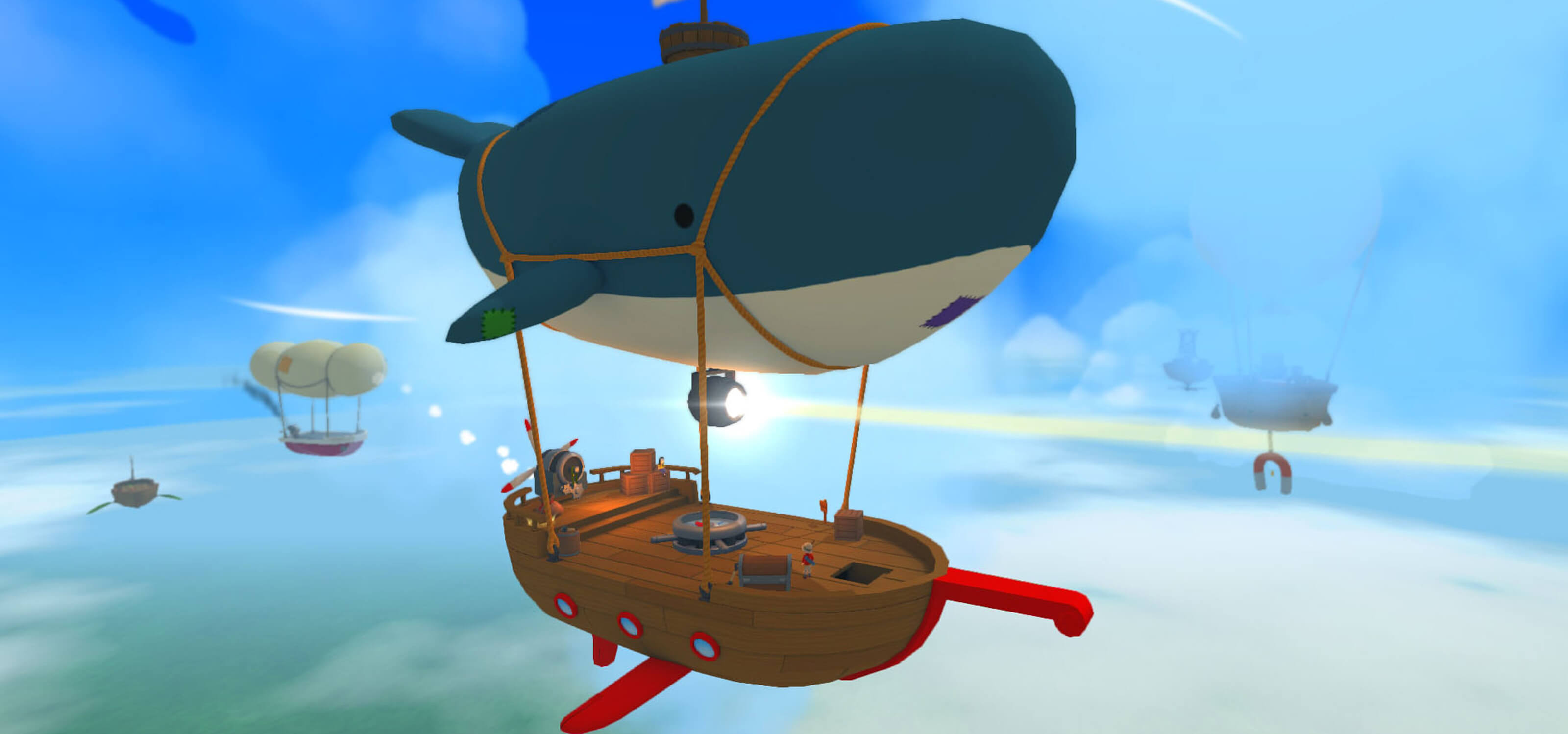 Screenshot from PolyKid Games' Poi, featuring a floating ship dangling from a whale-shaped balloon