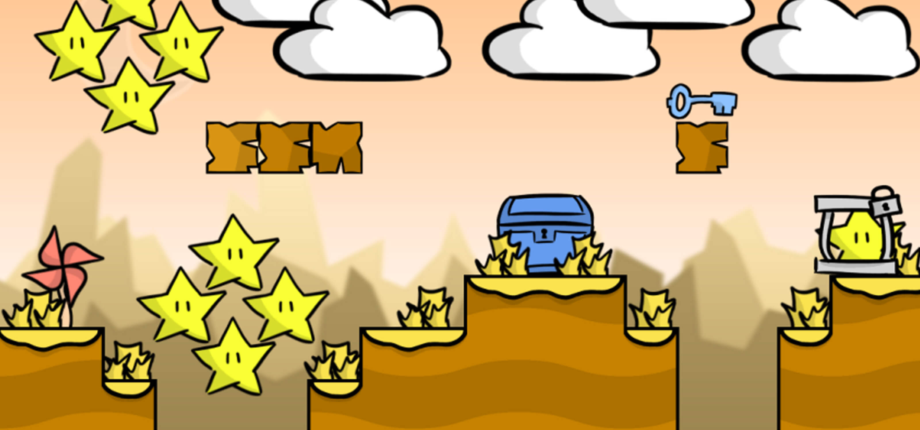 Screenshot from Star Thief featuring a treasure chest, white puffy clouds and lots of yellow stars waiting to be stolen
