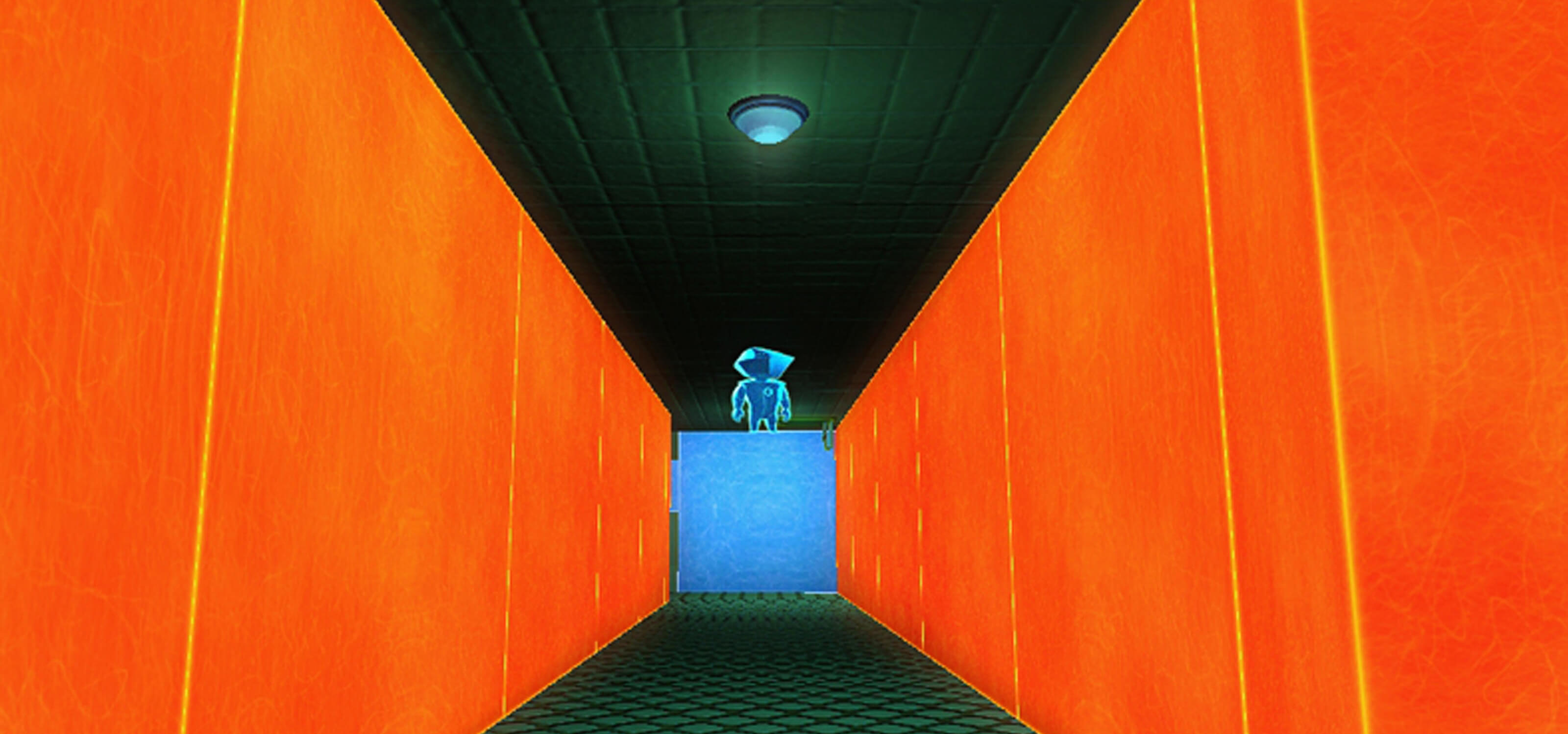 Screenshot from DigiPen student game Perspective of a character gazing down an orange-walled hallway