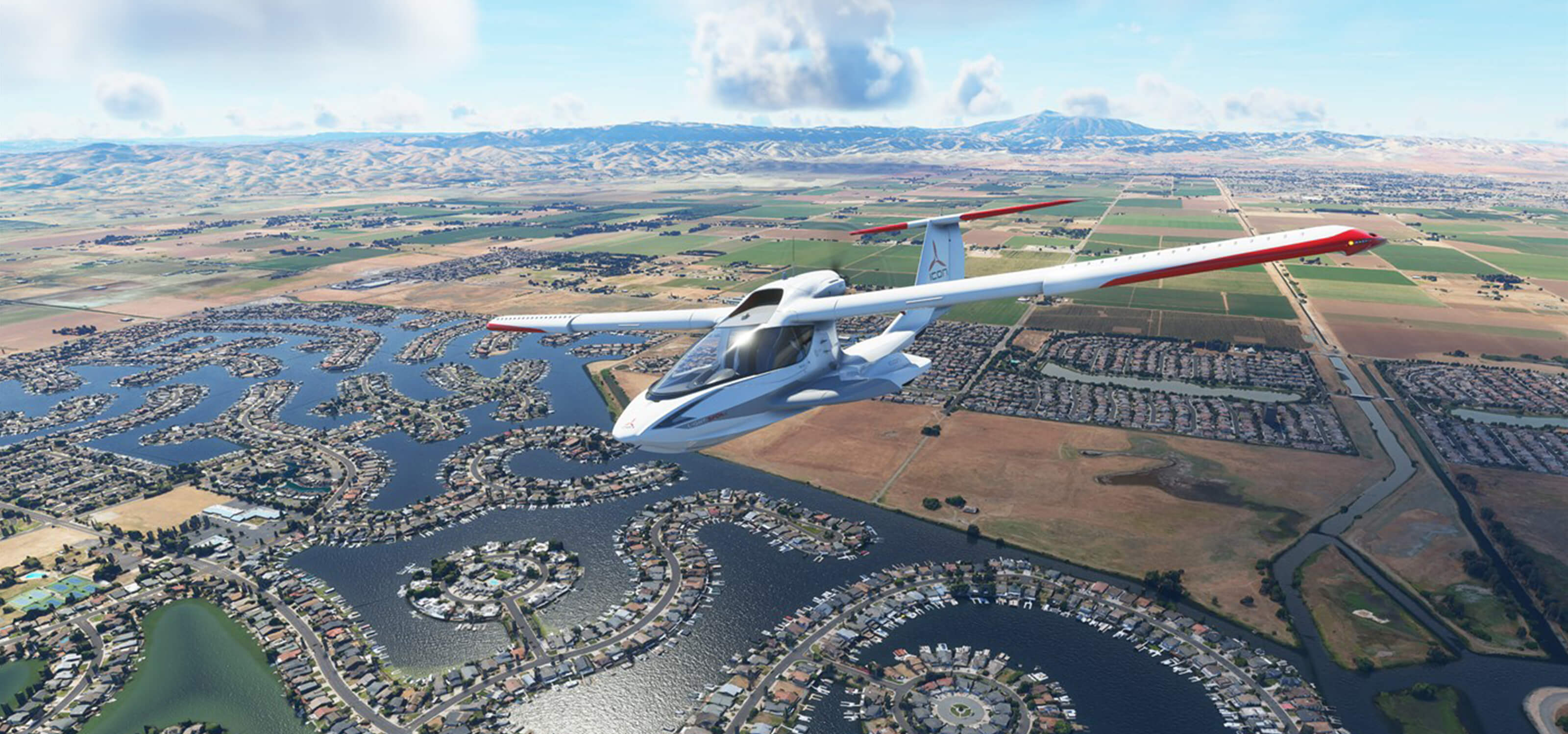 A screenshot from Microsoft Flight Simulator depicting a plane flying over fields and a lake.