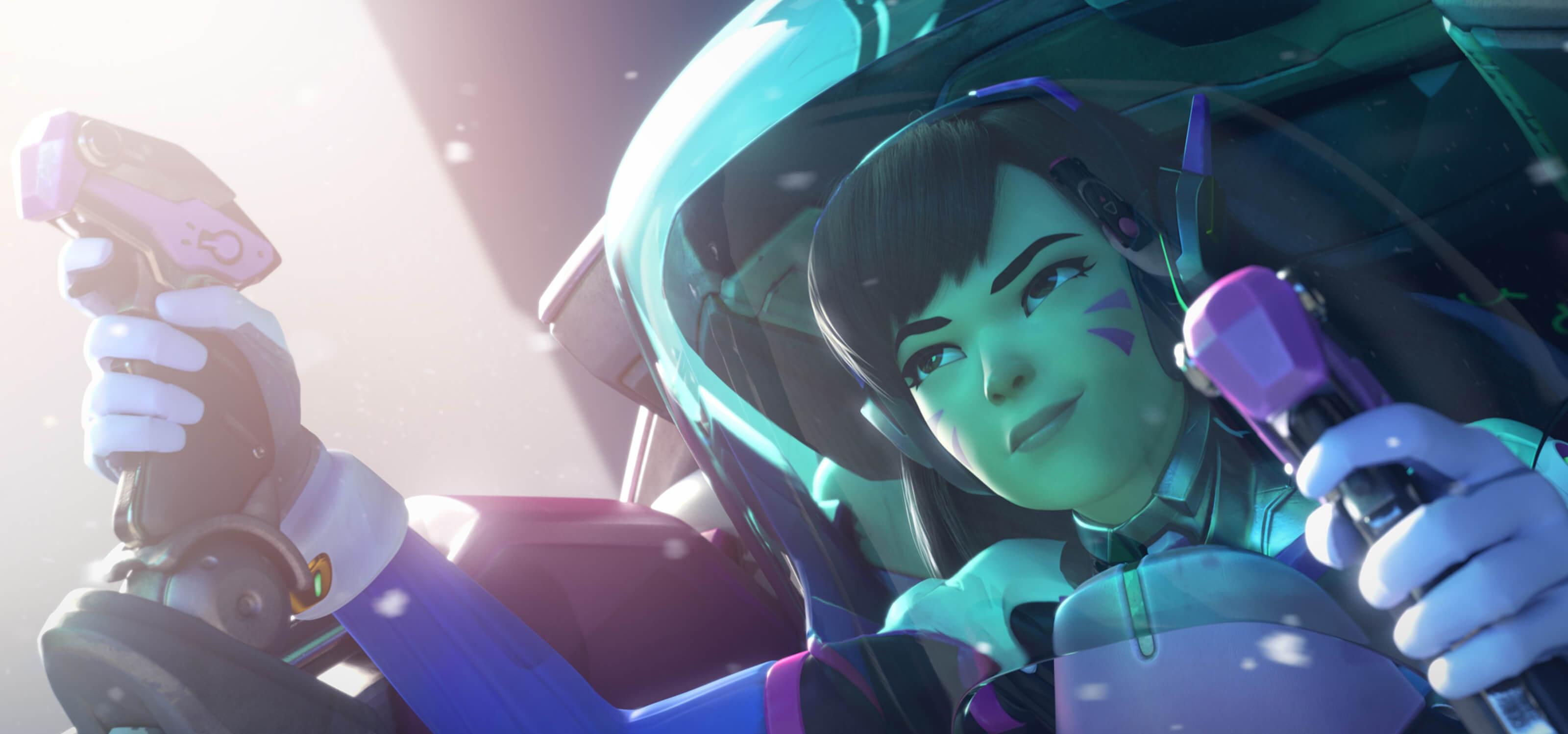 Screenshot of Overwatch character D.Va piloting her armored battle suit