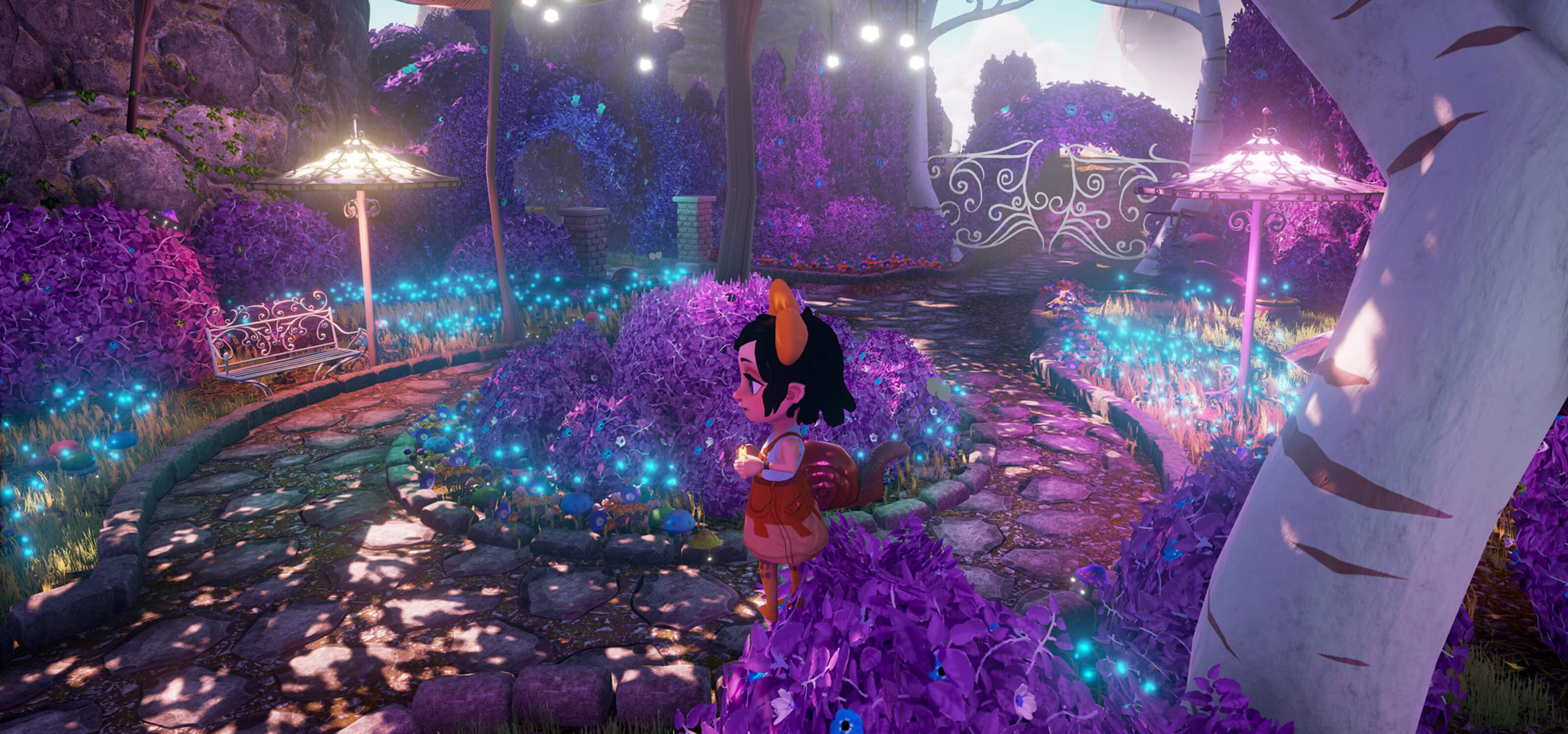 Screenshot from DigiPen student game Somnus of Melanie, a young girl in a magical garden rendered in shades of purple