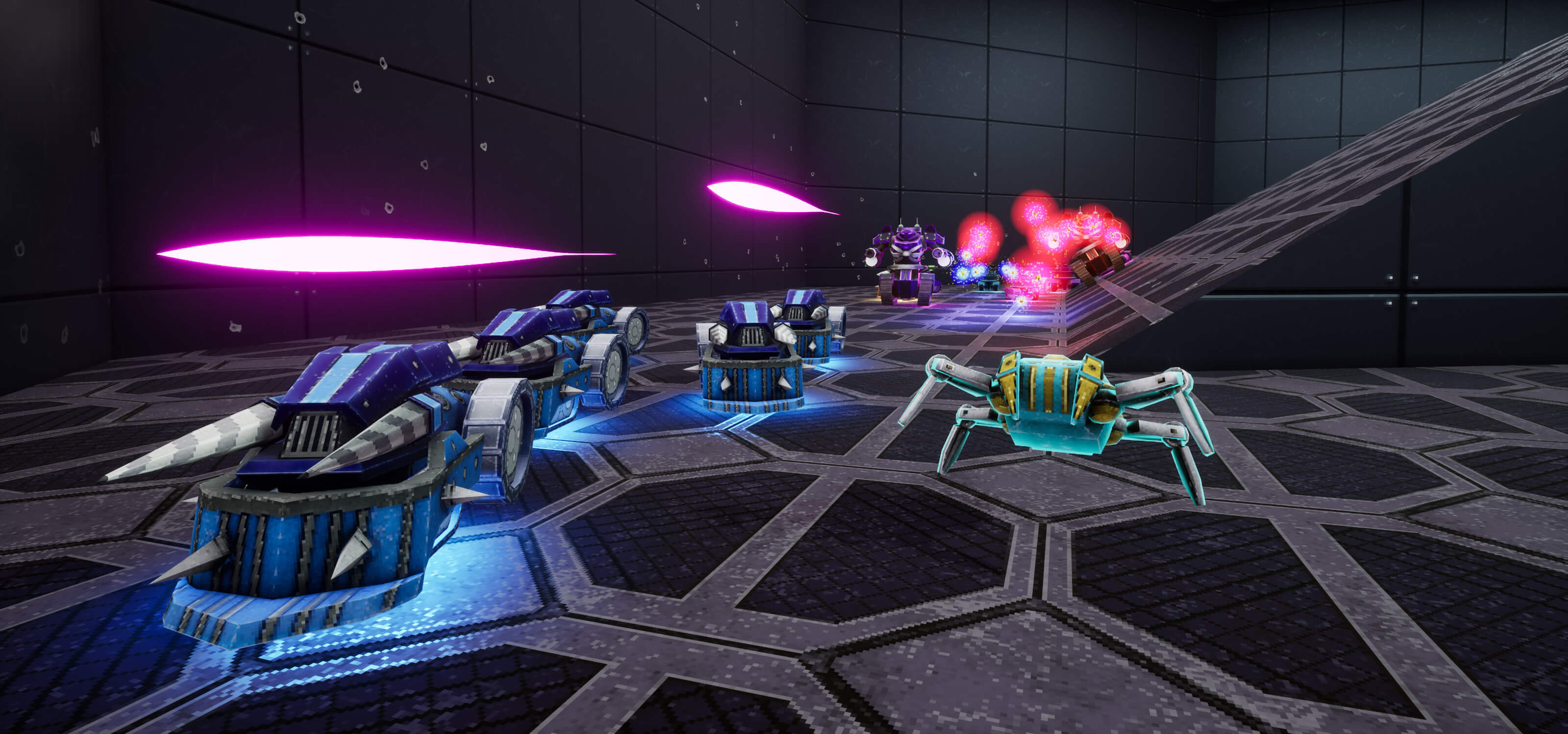 Game screenshot from OMFG: One Million Fatal Guns; room filled with deadly enemy robots