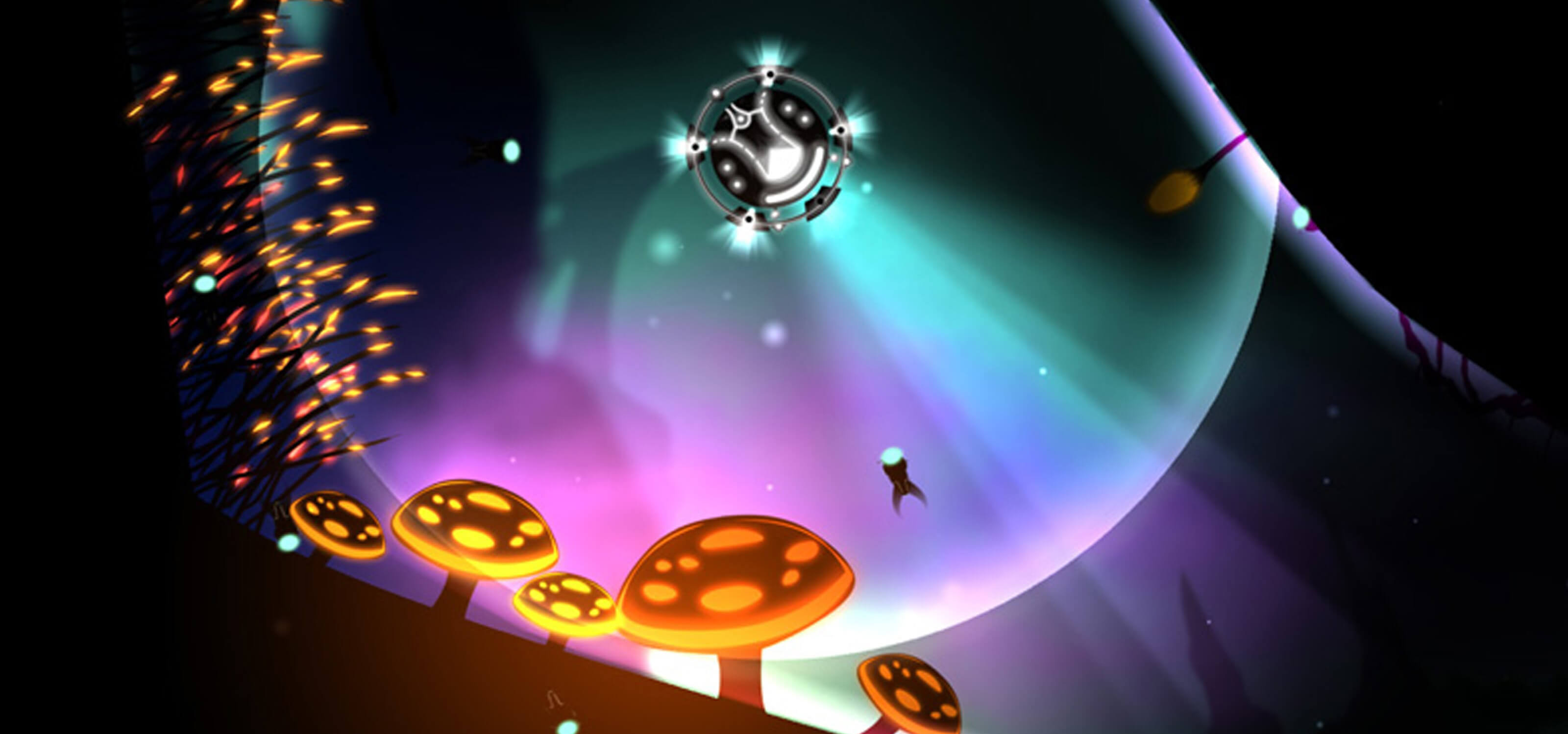 Screenshot from DigiPen student game SubRay of a vessel drifting through an underwater landscape filled with vegetation