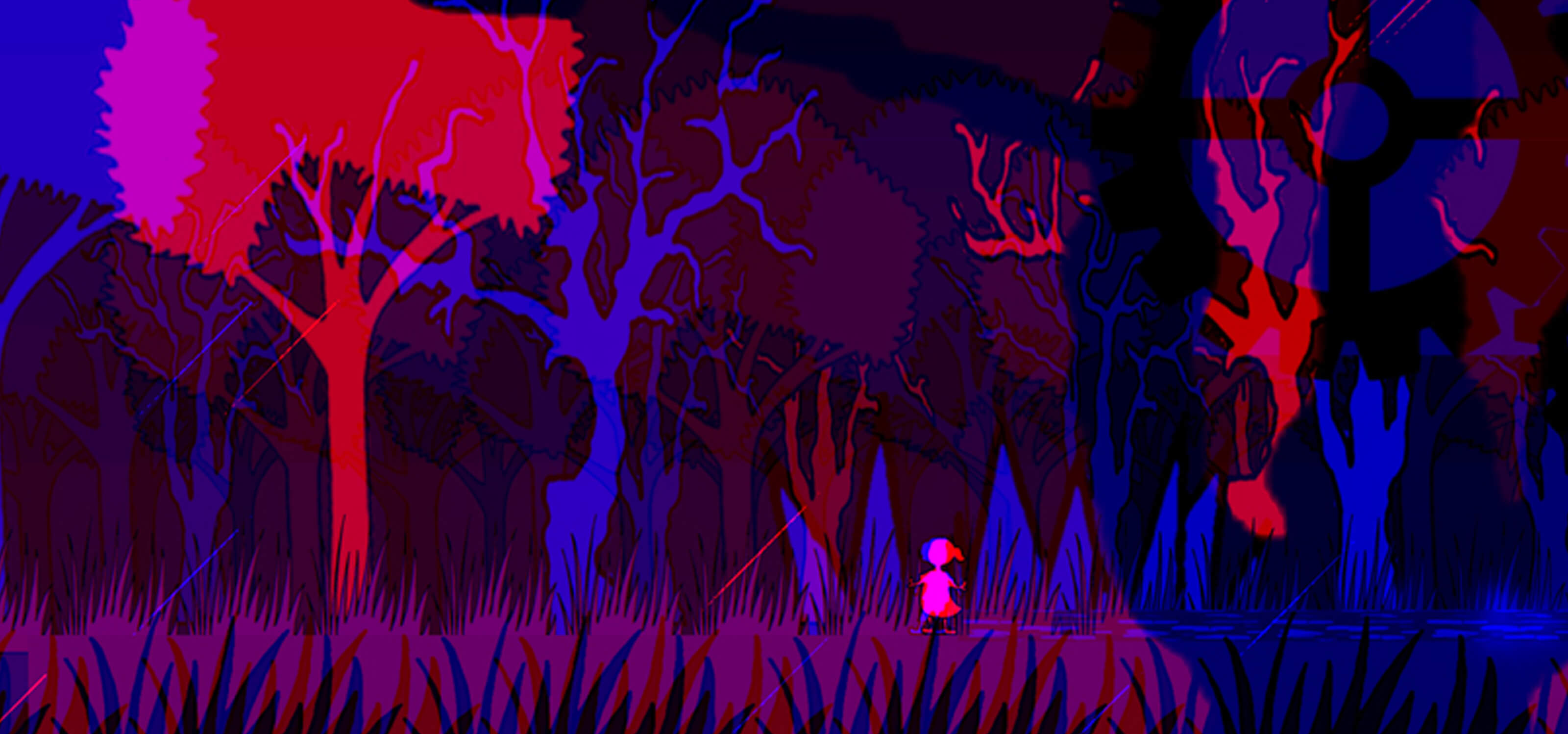 Screenshot from DigiPen student game Sunder of a small girl in a forest of blue, red and purple trees