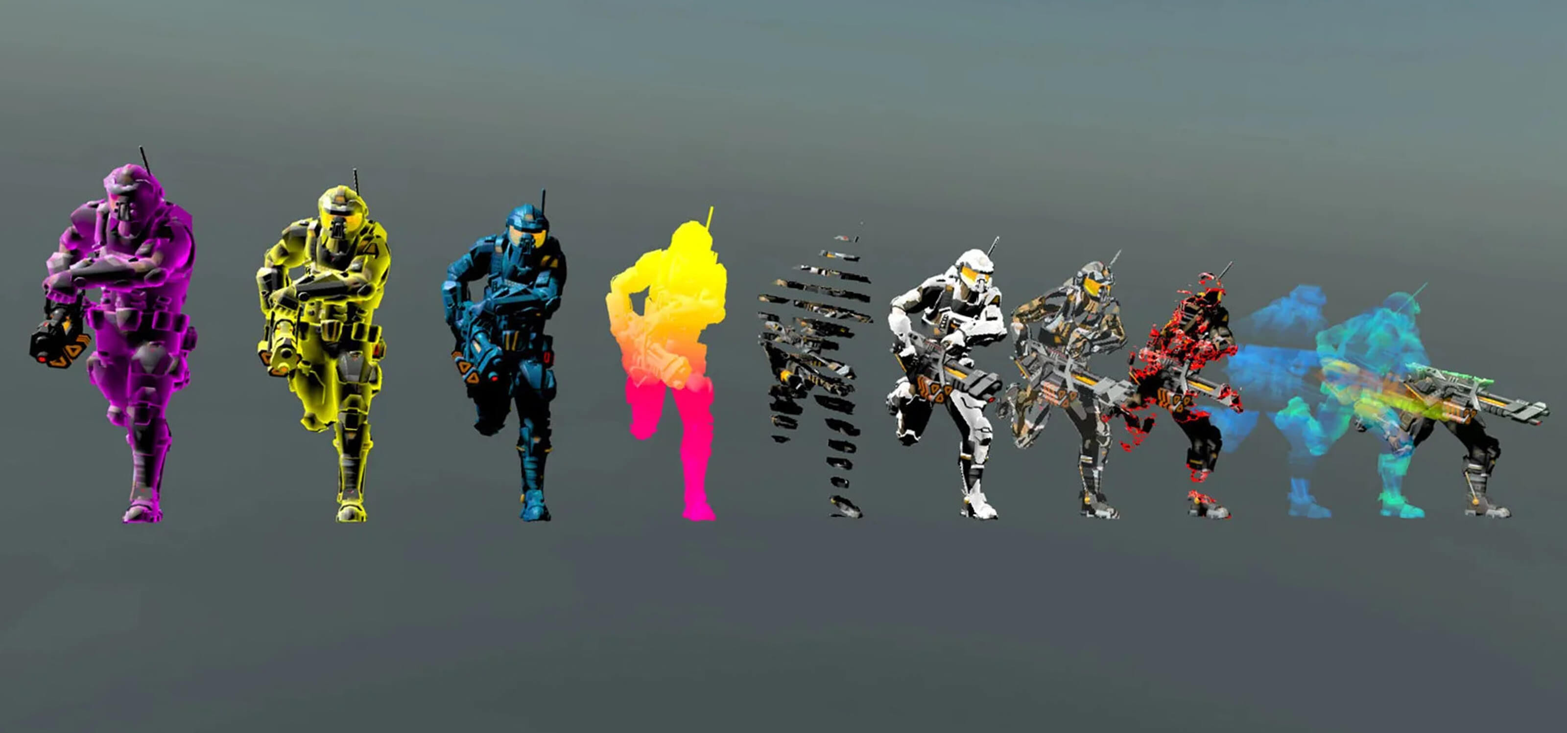 A demonstration of different Unity Shader Graph effects applied to the same sci-fi character model.