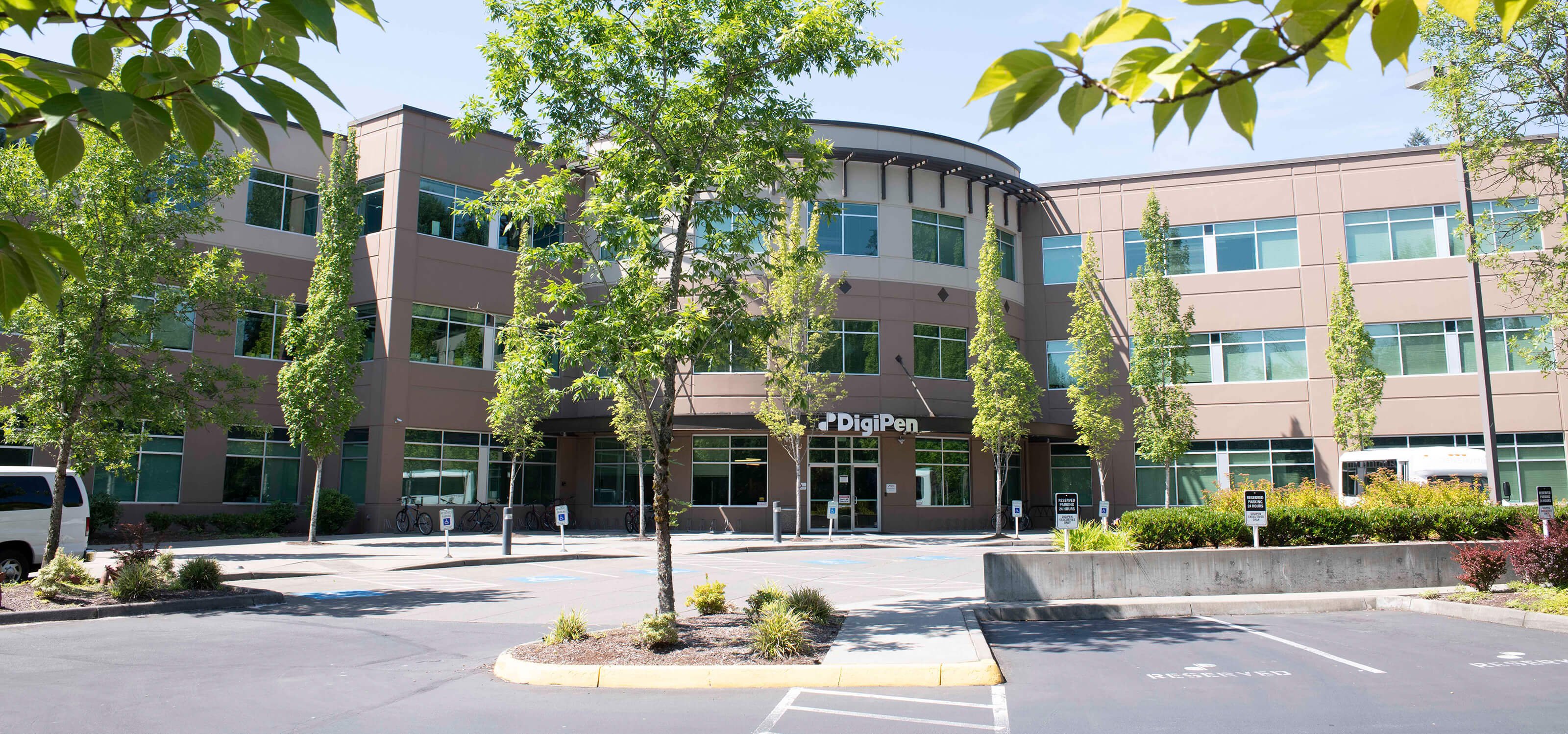 The front entrance of DigiPen's Redmond, WA campus