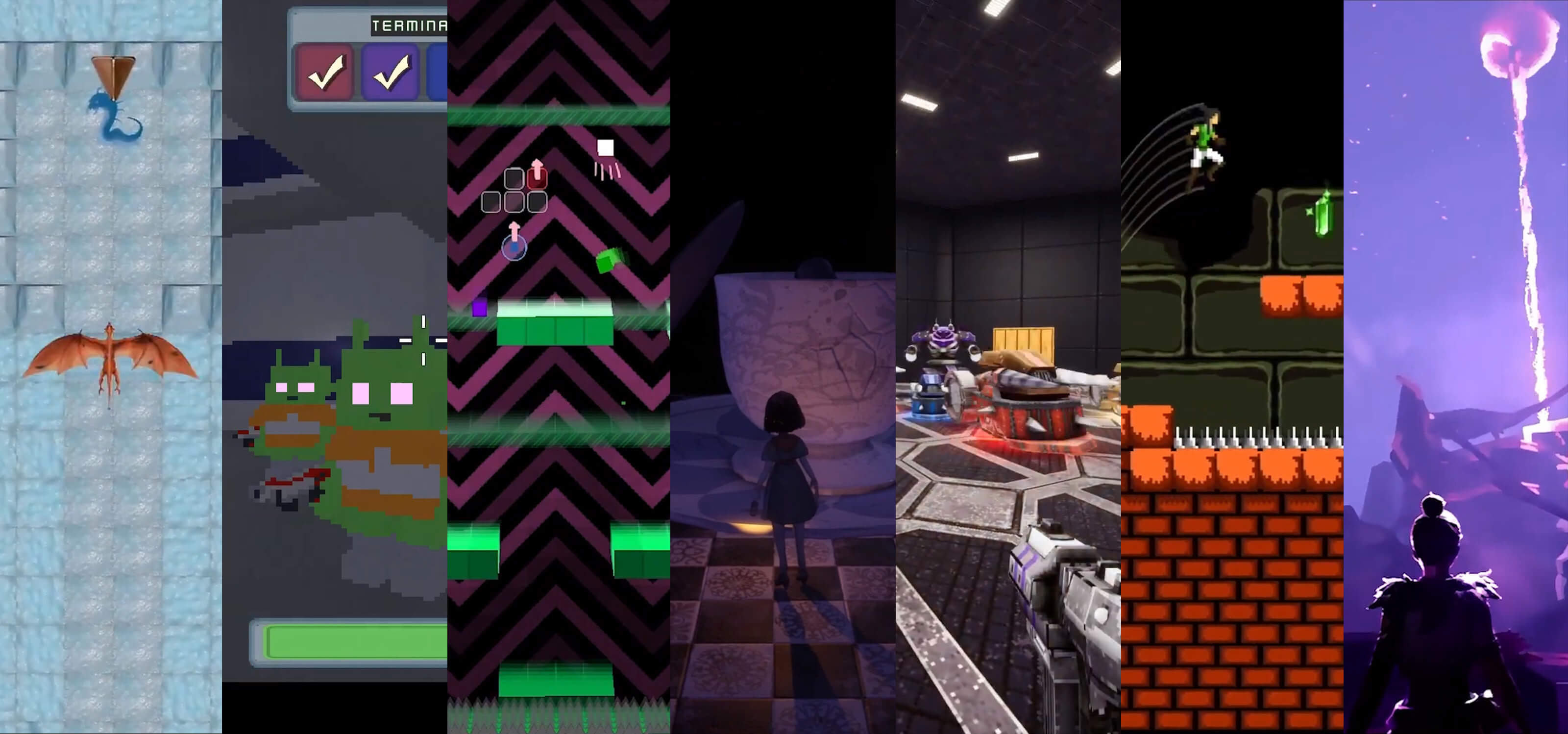 Collage of images from game screenshots, including a dragon, porcelein doll, blocks, and aliens.