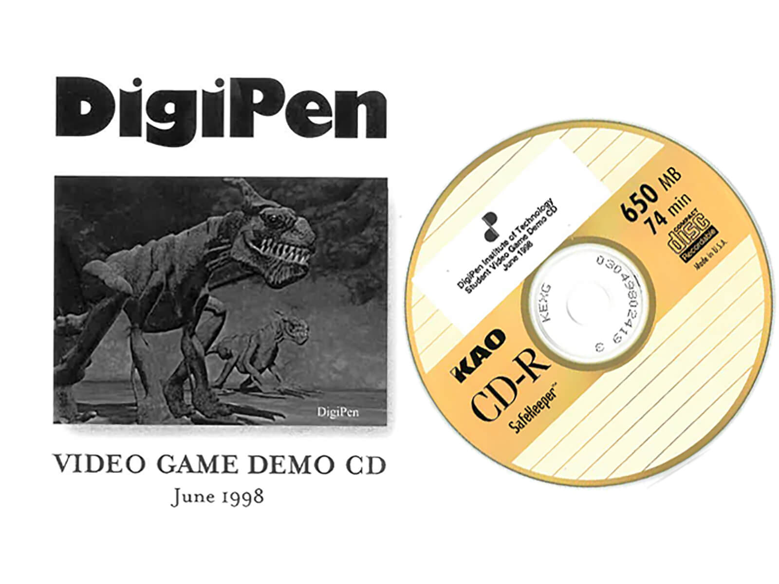 A picture of the 1998 DigiPen student video game demo CD.