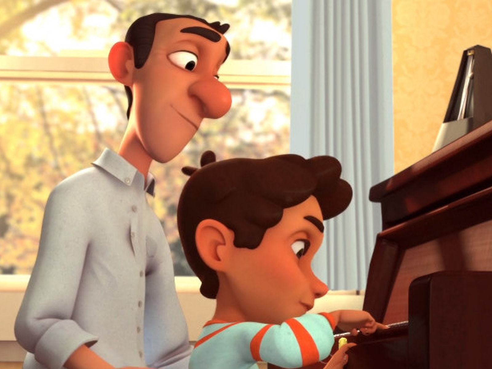 In a scene from DigiPen Europe-Bilbao student animation Arpeggio, a father watches his young son play the piano