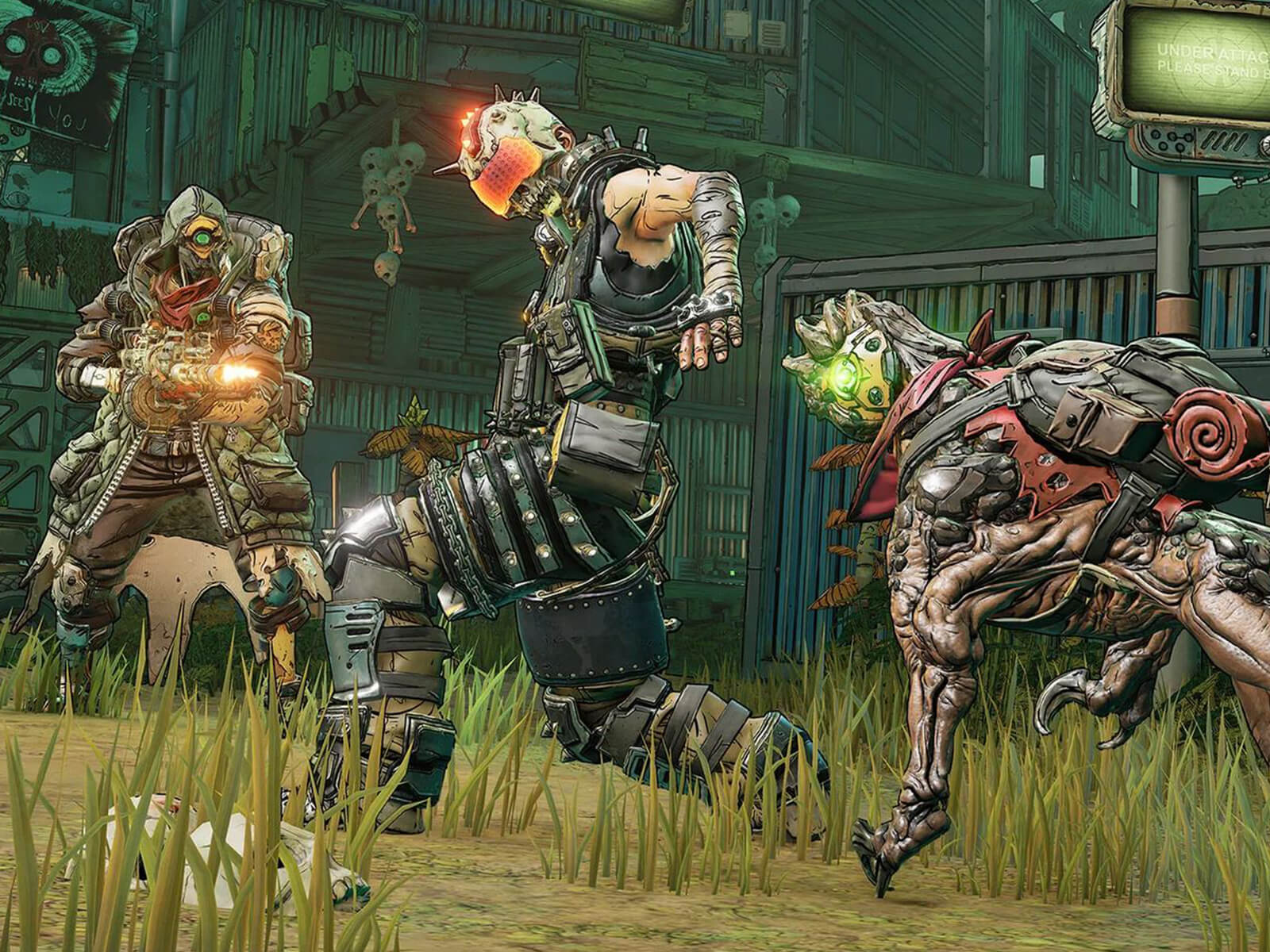 Borderlands 3 character FL4K and their dog companion surround an enemy.