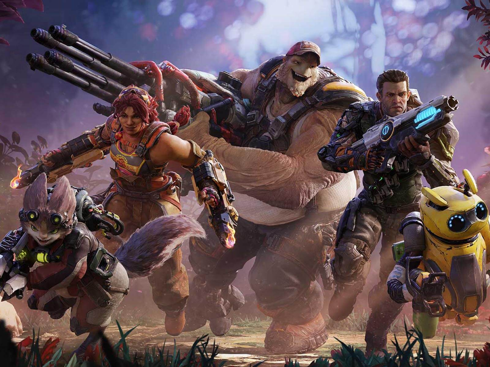 A group of several heroes from the Crucible game charging into action.