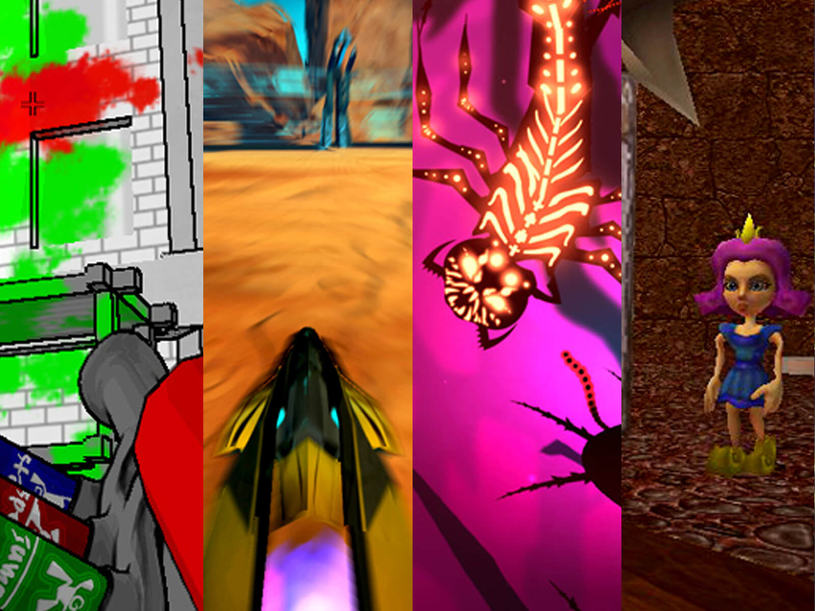 A mashup of screenshots from seven DigiPen games depicting an explosion, a hovercraft, a sea creature, a princess, and more.