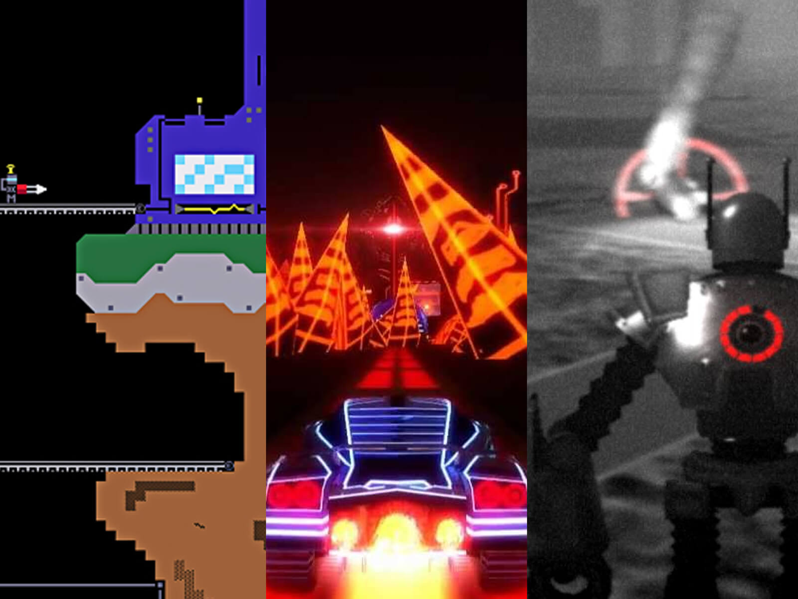 A mashup of screenshots from seven DigiPen games depicting a raindrop creature, a neon race car, a chained man, and more.