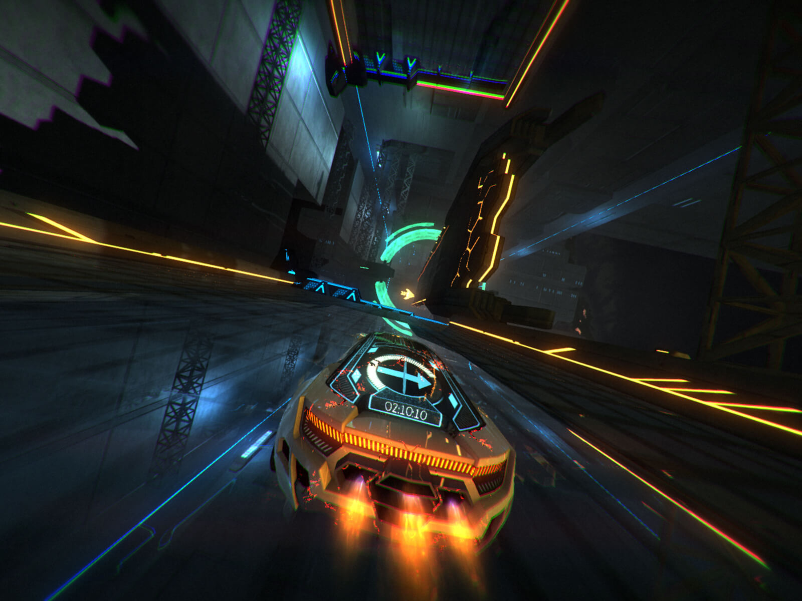 Screenshot from Refract Studios' Distance v1.0 of a neon-trimmed car racing through a darkened landscape
