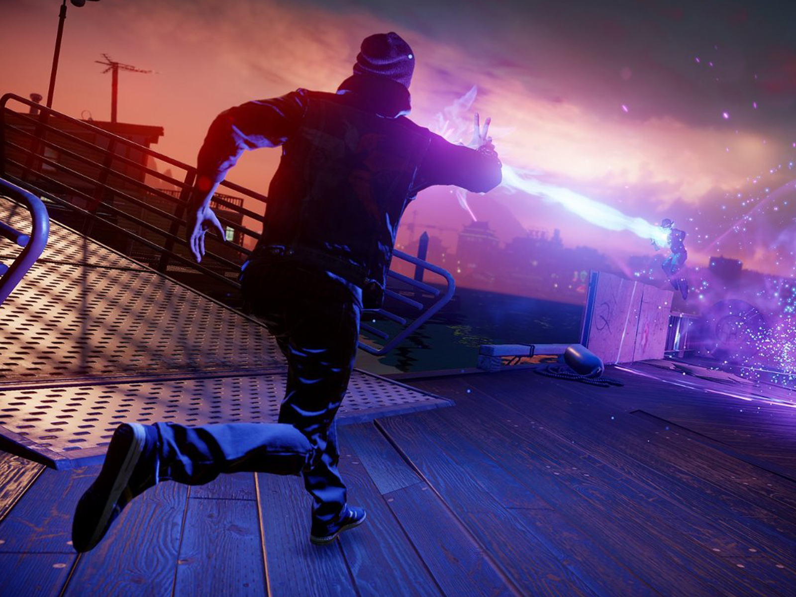 Screenshot of Infamous Second Son protagonist Delsin Rowe on a dock at night, running toward two assailants
