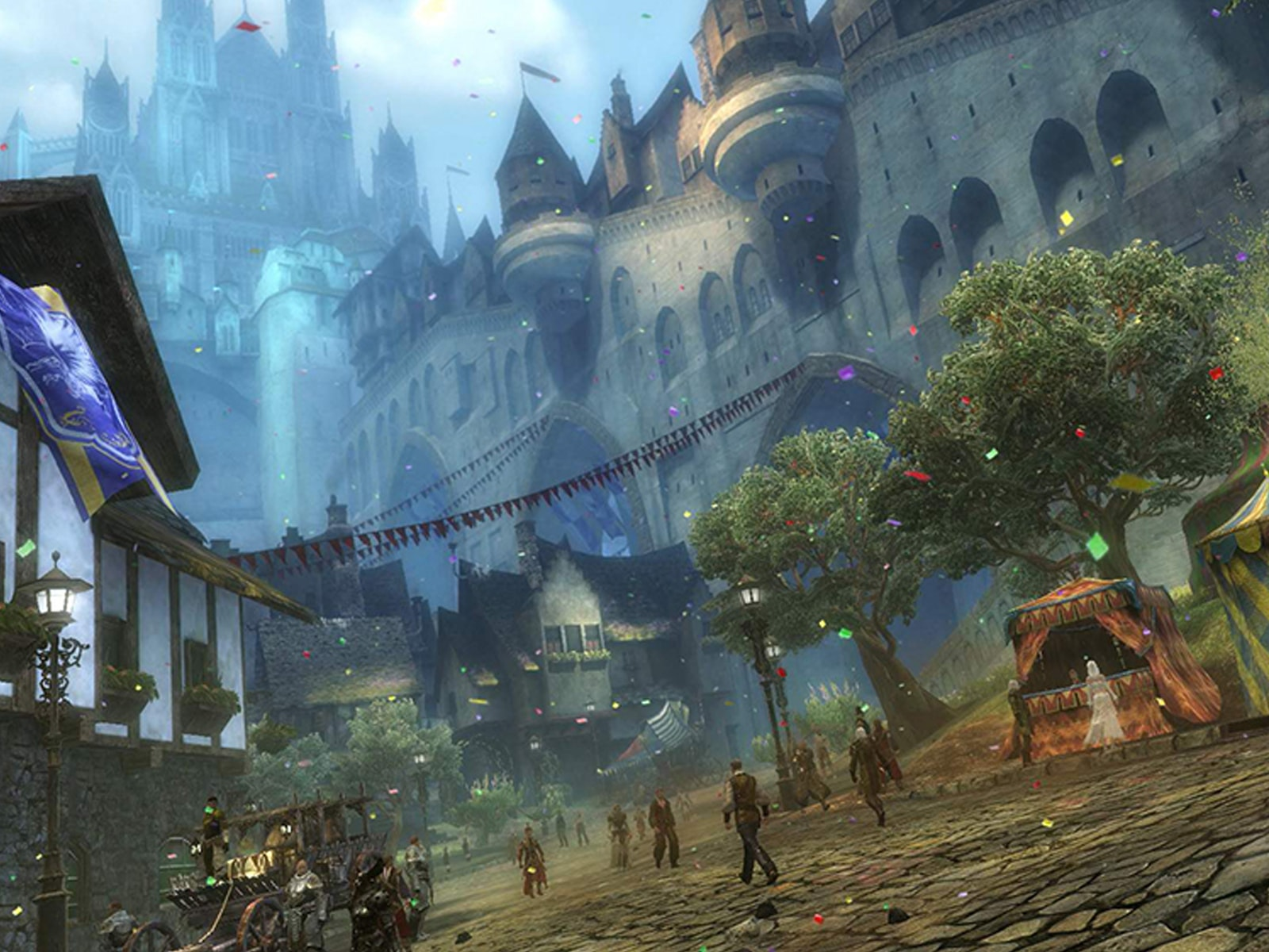 Scene from Guild Wars 2 featuring a village square surrounded by castle-like buildings at twilight