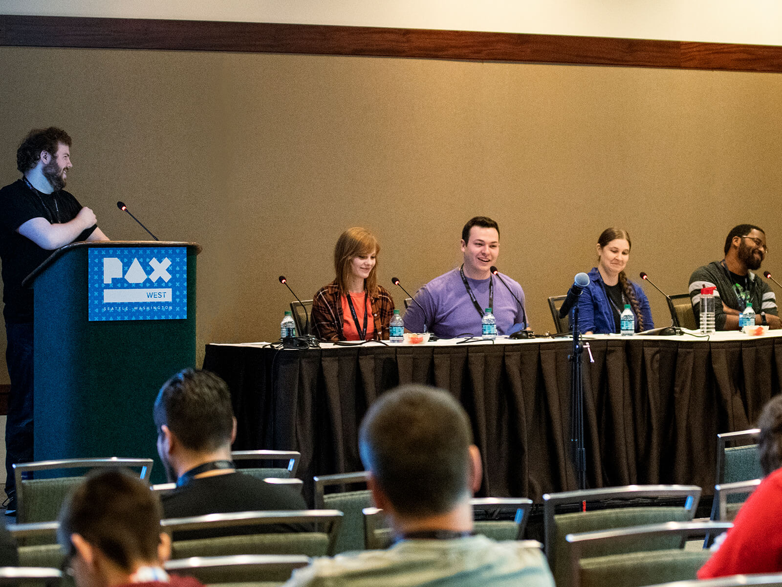DigiPen alumni Devin Jensen, Lauren Stutzriem, Allan Deutsch, Victoria Smith, and Stephen Scott speaking at PAX West 2018