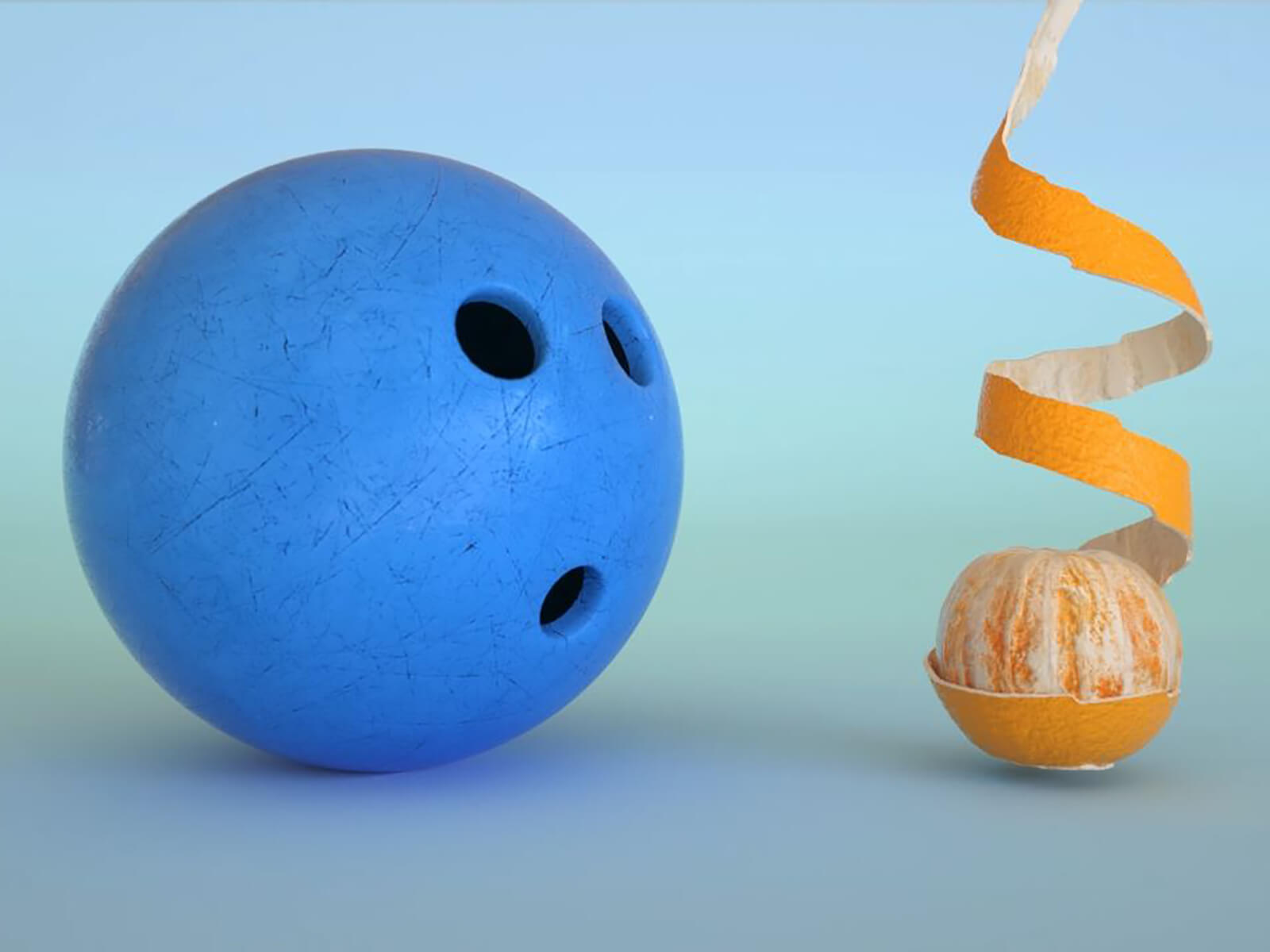 CG image of a bowling ball and peeled orange by Jonathan Bourim and Christophe Bouchard.