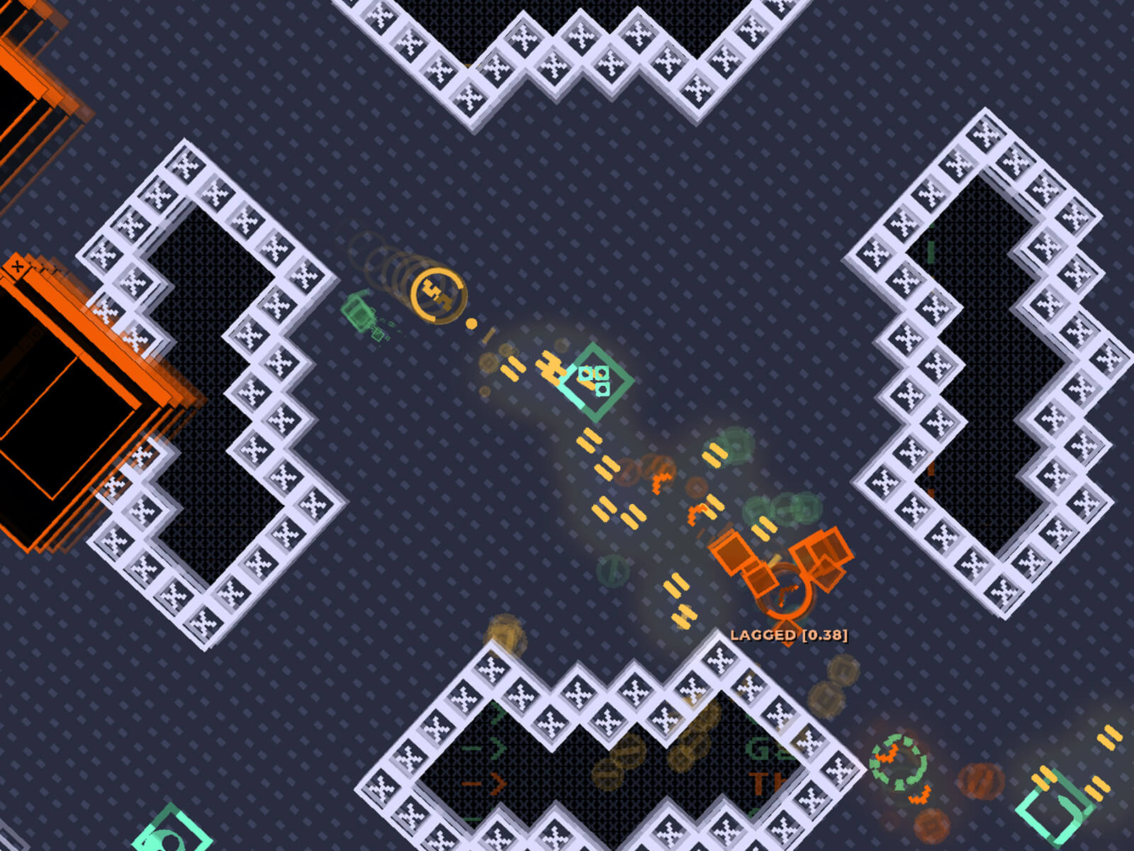 A geometric, pixel art screenshot from DigiPen student game Netgunner.