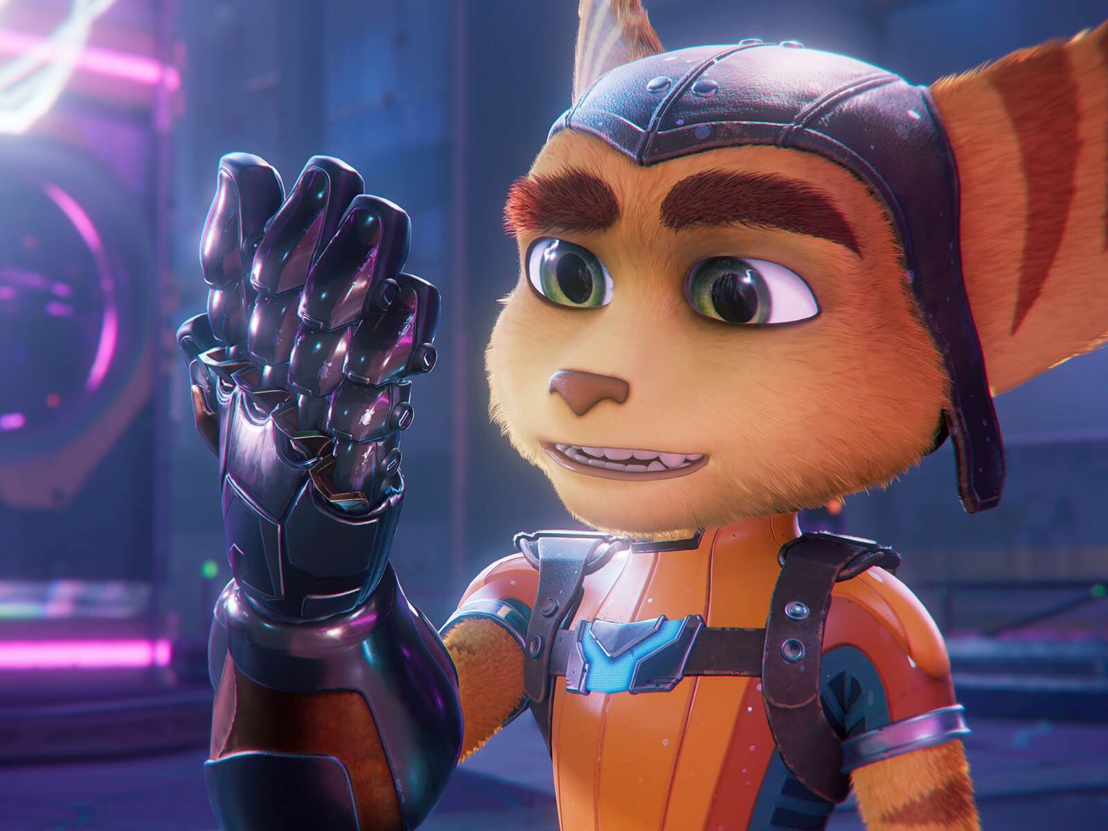 Ratchet admires his mechanical glove in a screenshot from Ratcher & Clank: Rift Apart.