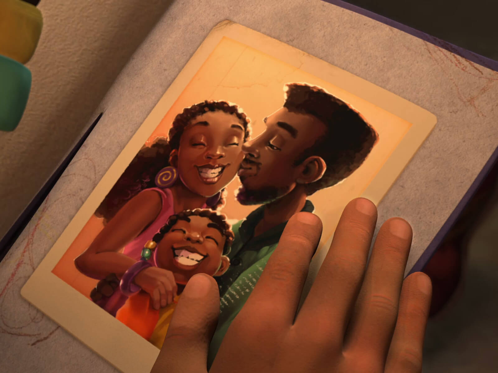 Screen capture from the student film Adija. A young girl looks at a happy family photograph.