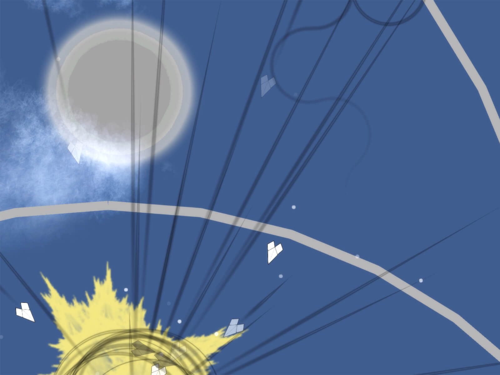 Screenshot from DigiPen Singapore student game Meaning, featuring paper airplanes floating through the sky