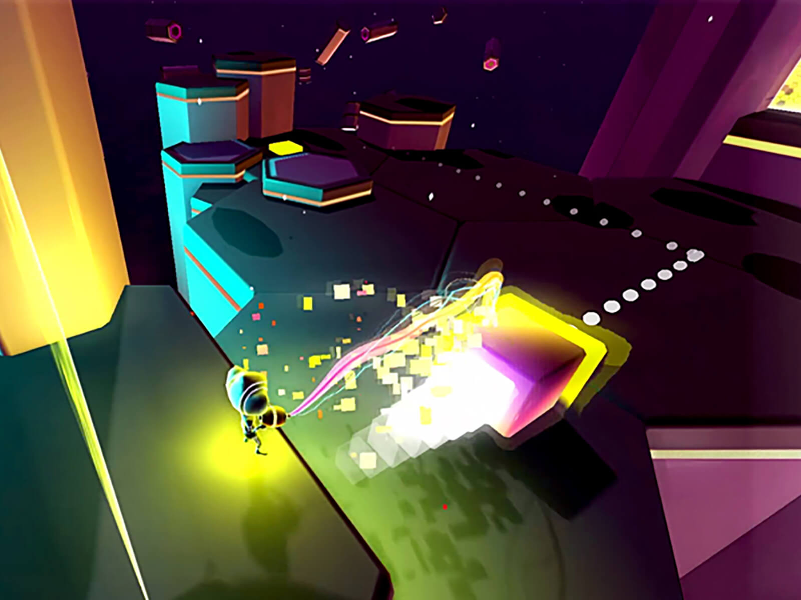 Screenshot from DigiPen (Singapore) game Chrono Disfunglement in which a helmet-clad avatar shoots particle beams at a large purple cube.