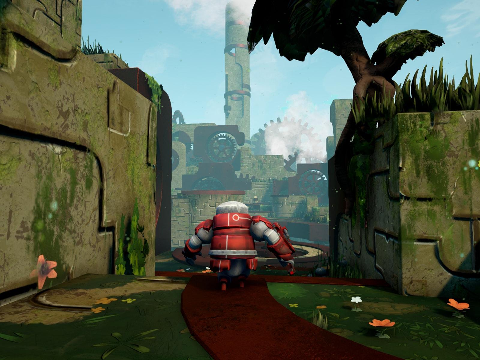 A red robot running through a clockwork world