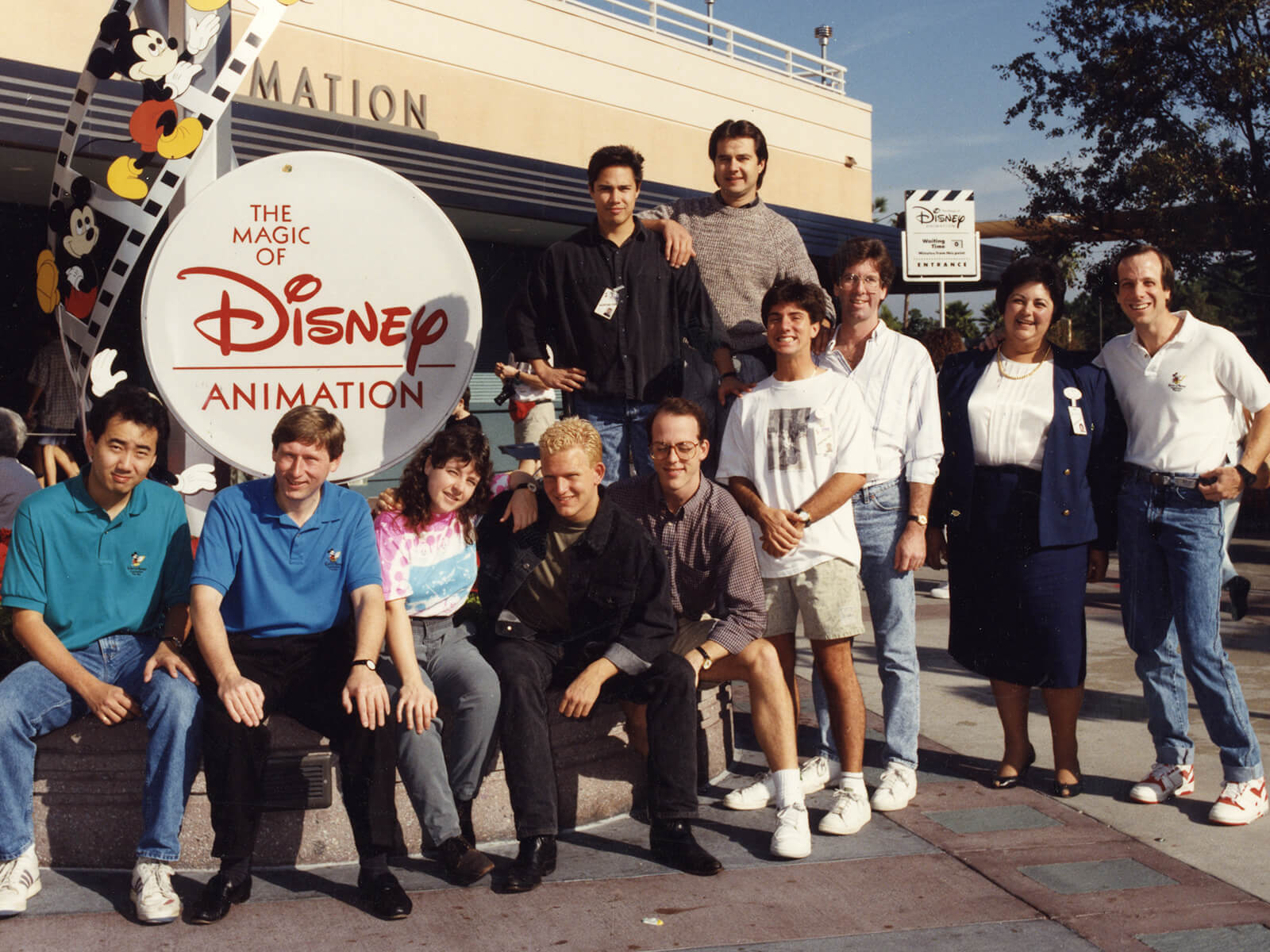 Group photo of Disney animation interns featuring DigiPen professor Jazno Francoeur
