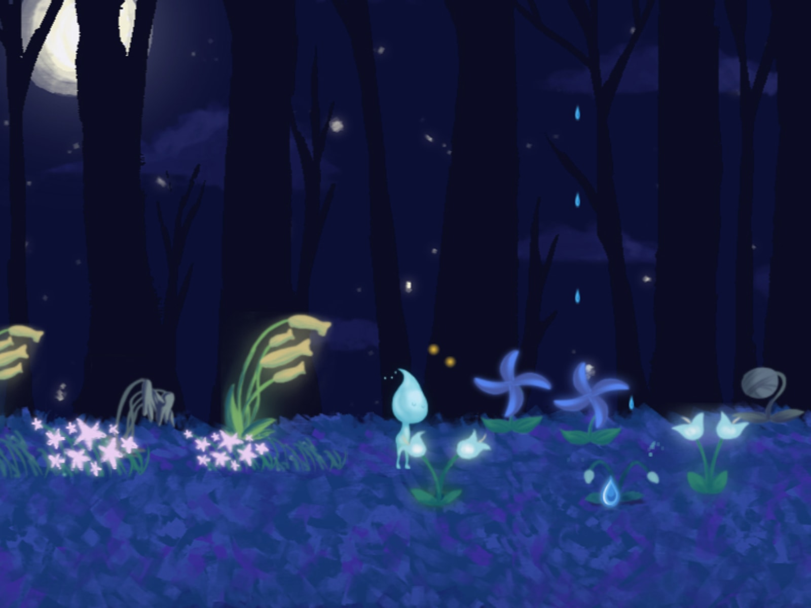 Screenshot from DigiPen student game Douse of a rain sprite with a water-droplet-shaped head with flowers in a dark forest