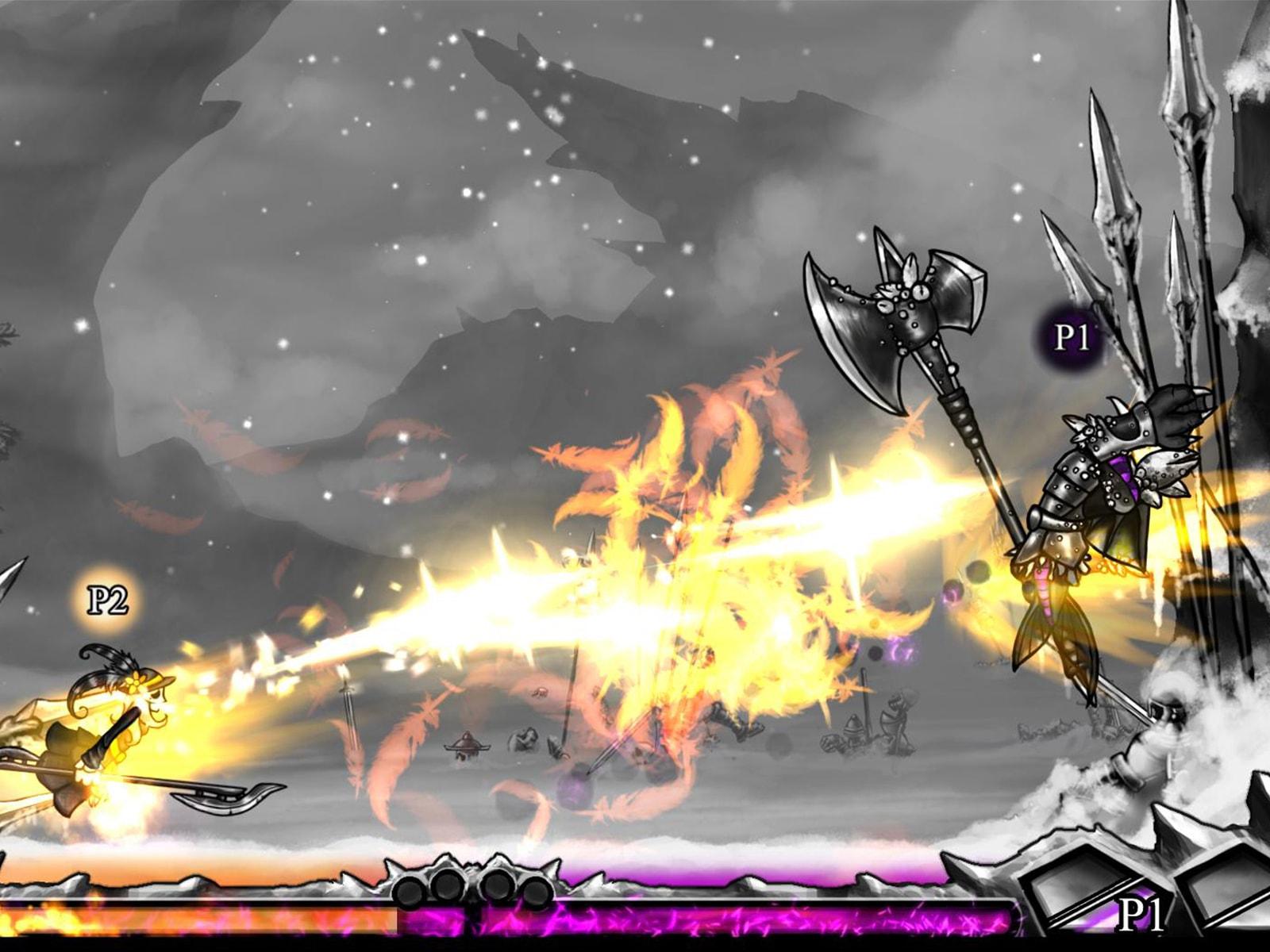 Screenshot of a battle from DigiPen student game Frozen Masquerade