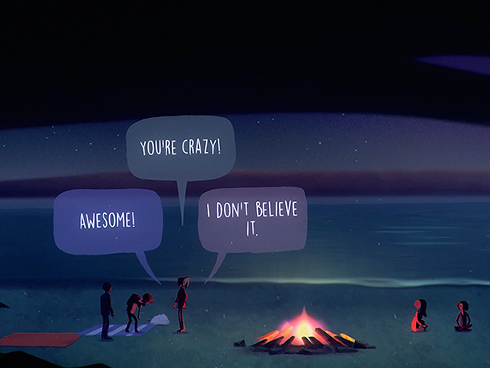 """Screenshot from Oxenfree of teenaged characters saying """"Awesome!"""", """"You're crazy!"""", """"I don't believe it."""" at a campfire by a lake"""